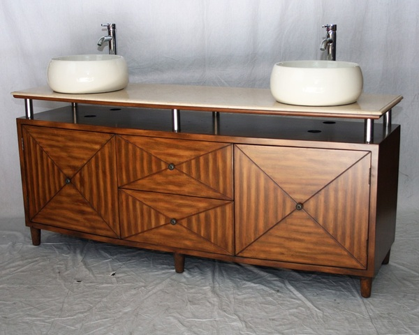 "72"" Adelina Contemporary Style Double Sink Bathroom Vanity in Chestnut Wooden Cabinet Finish with Beige Stone Countertop"