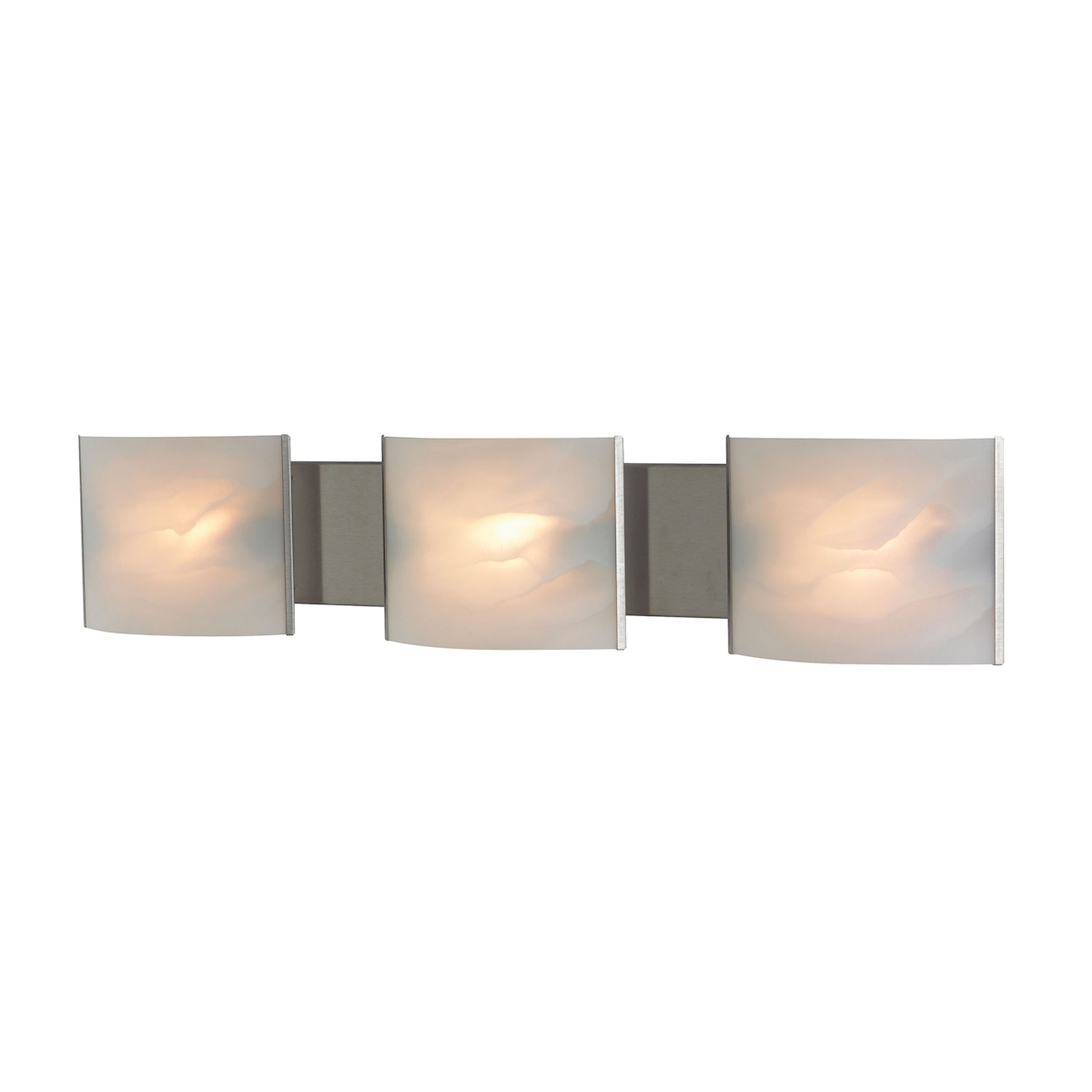 Pannelli Vanity - 3 Light with Lamps. White Alabaster Glass / SS Finish