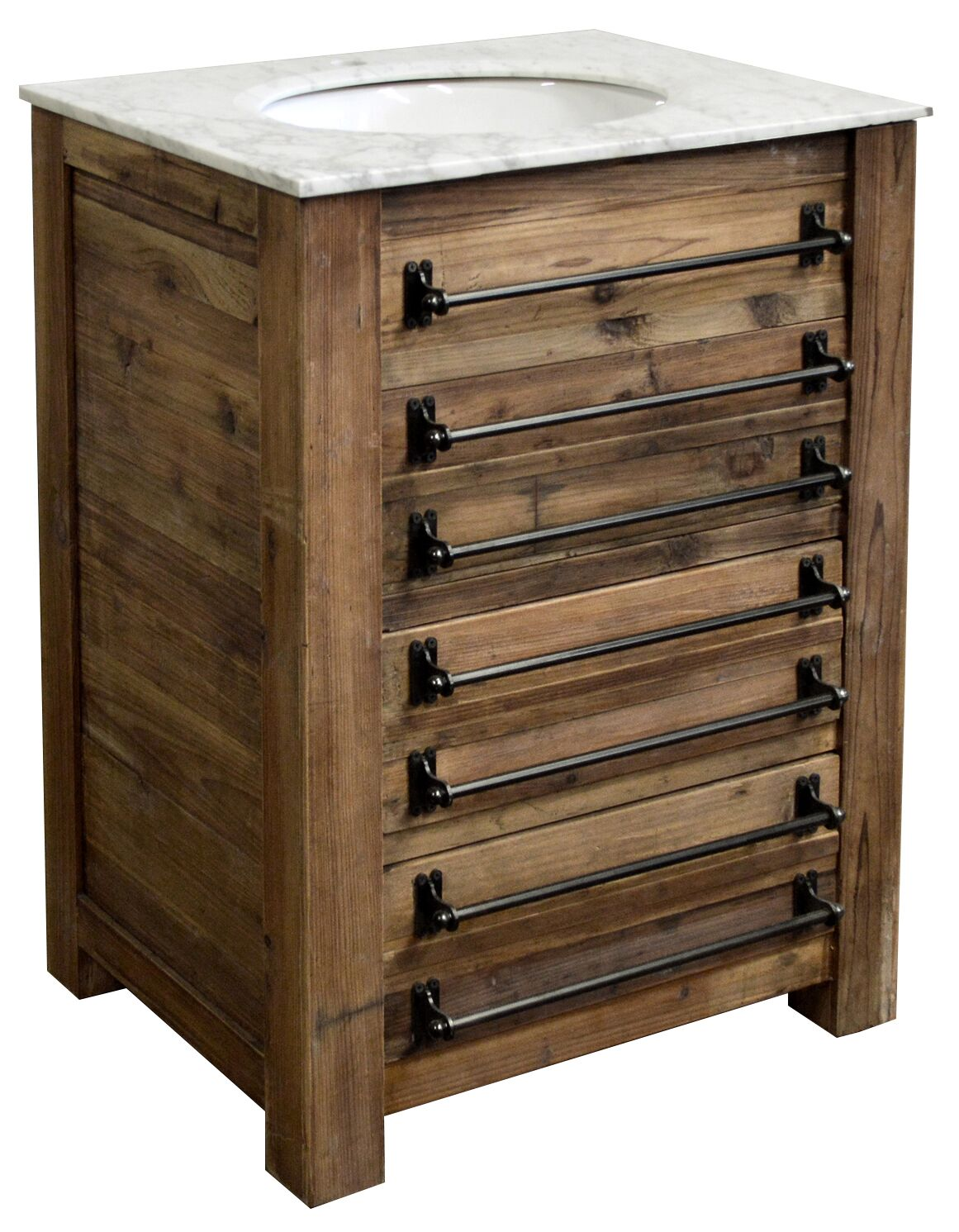 "26.5"" Handcrafted Reclaimed Pine Solid Wood Single Bath Vanity"