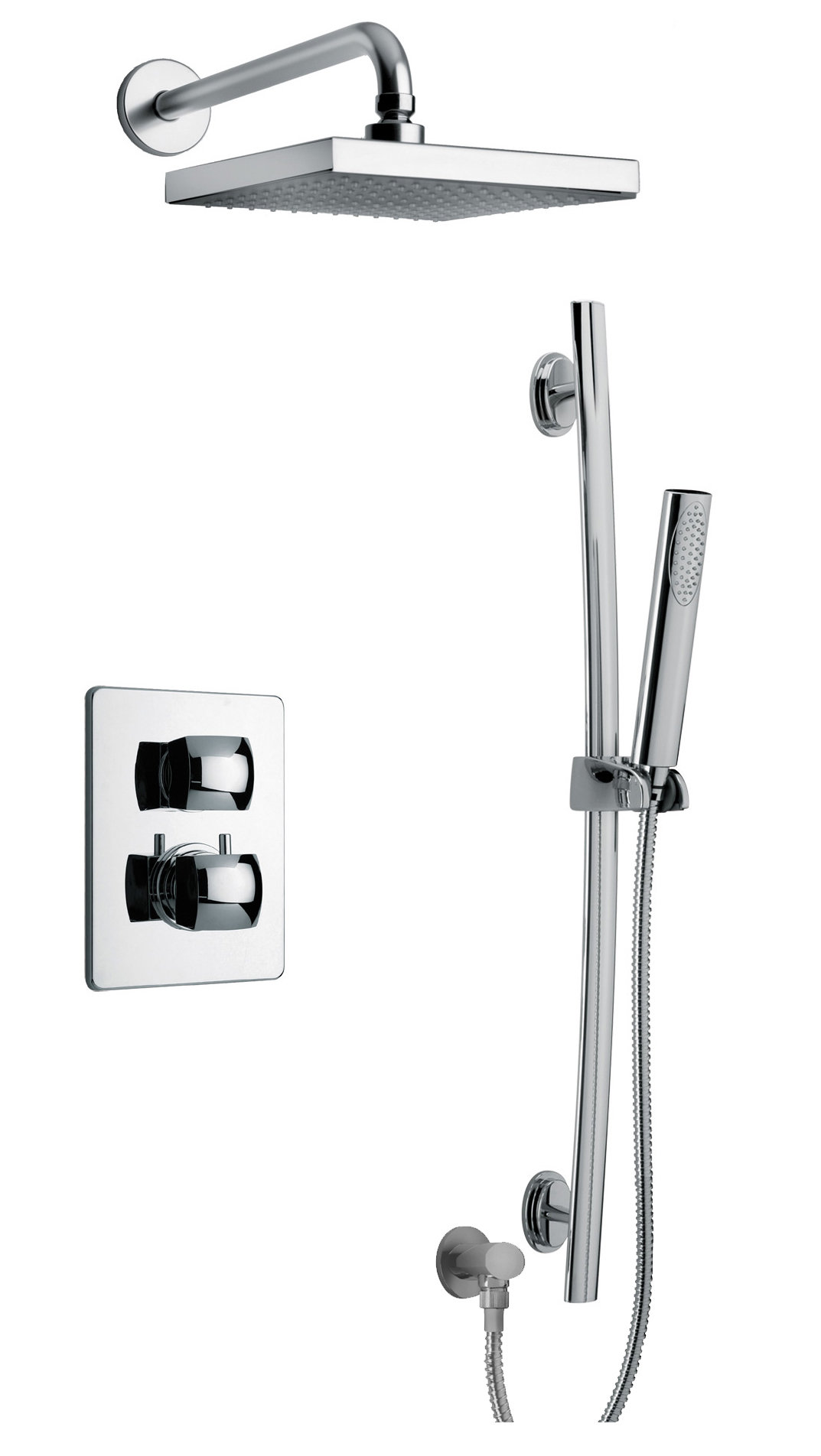 Thermostatic Shower With 2-Way Diverter Volume Control and Slide Bar in Chrome