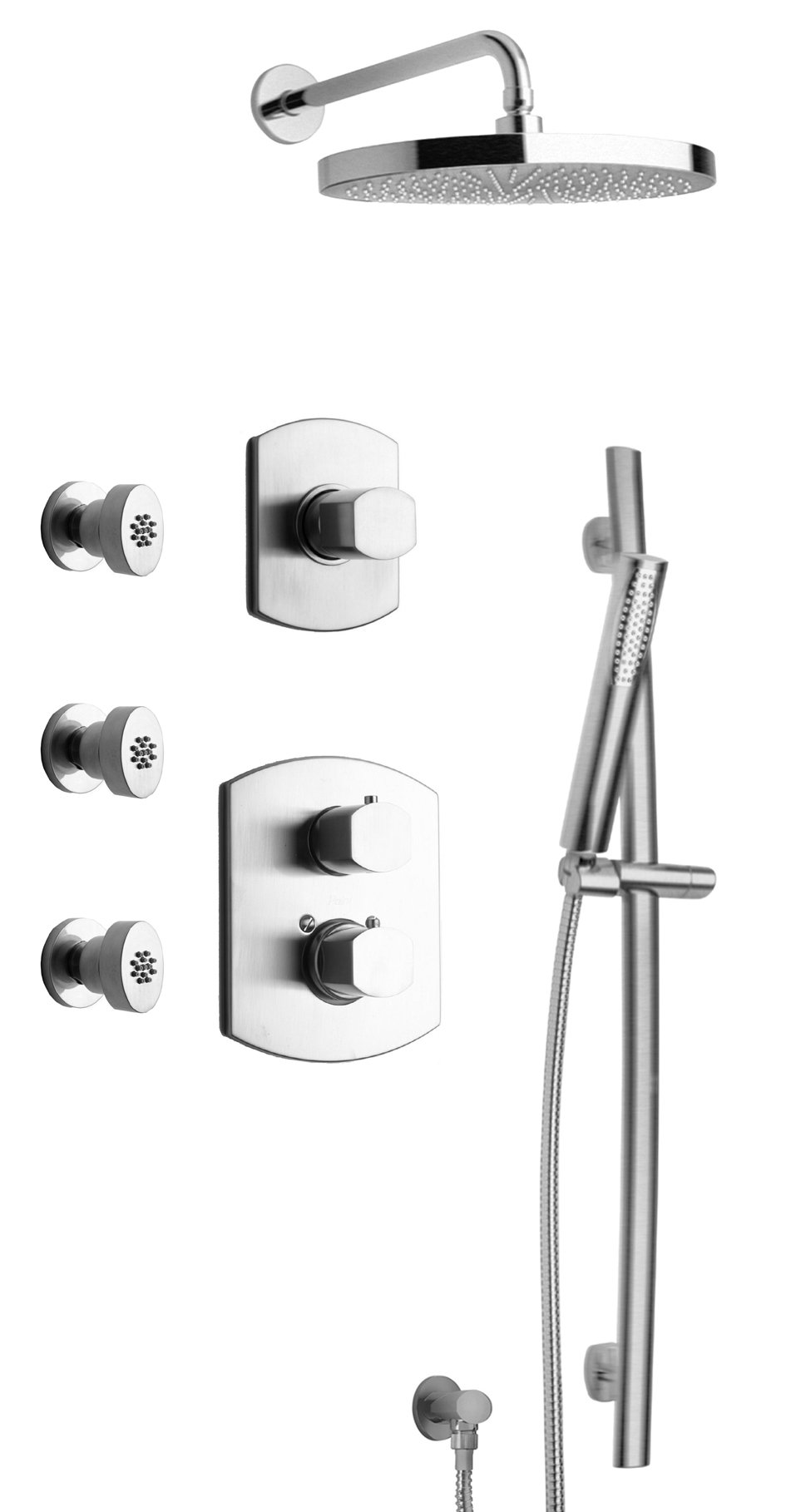 "Thermostatic Shower With 3/4"" Ceramic Disc Volume Control, 3-Way Diverter, Slide Bar and 3 Body Jets - Chrome Finish"
