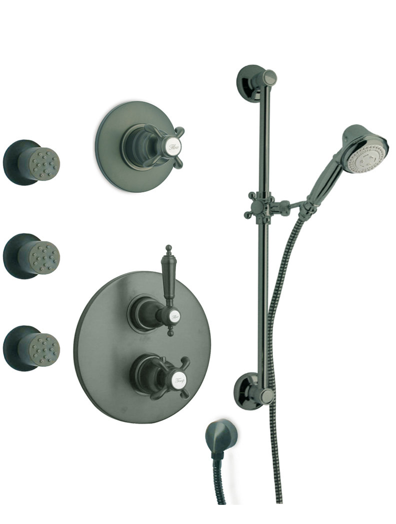 "Thermostatic Shower With 3/4"" Ceramic Disc Volume Control, 3-Way Diverter, Slide Bar and 3 Body Jets in 3 Color Options"