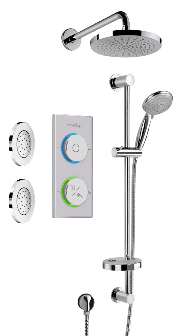 Digital Shower System With Showerhead, Slide Bar and 2 Concealed Body Jets in Chrome