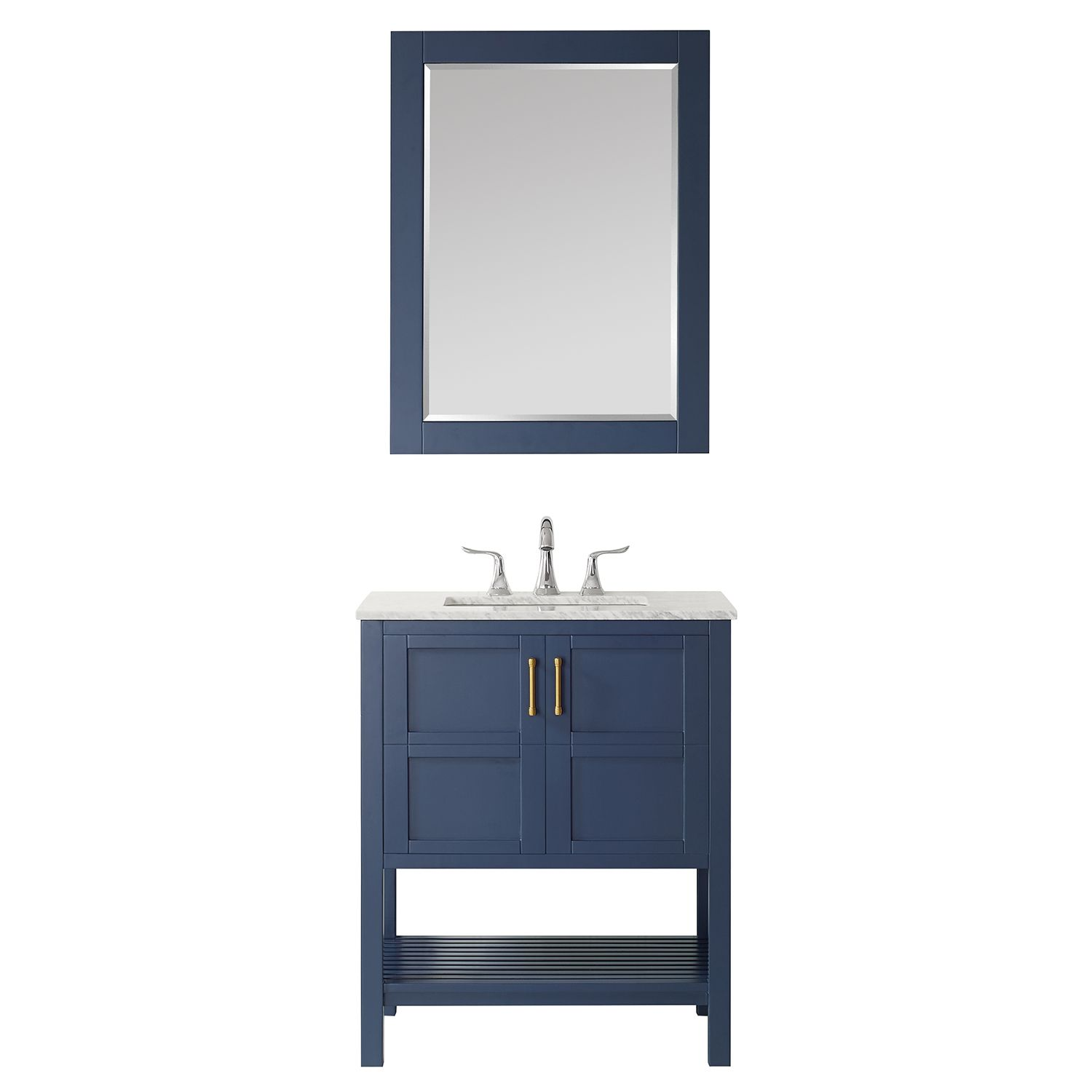 "30"" Vanity in Royal Blue with Carrara White Marble Countertop With Mirror"