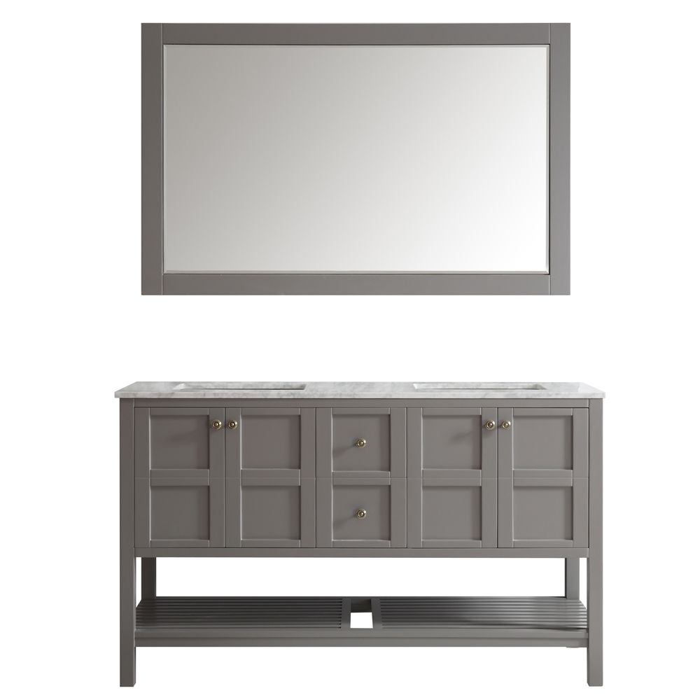 "60"" Double Vanity in Grey with Carrara White Marble Countertop With Mirror"
