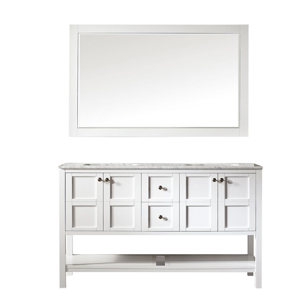 "60"" Vanity in White with Carrara White Marble Countertop With Mirror"