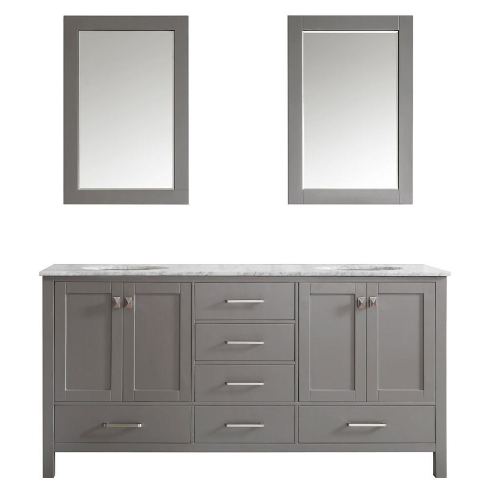 "72"" Double Vanity in Grey with Carrara White Marble Countertop With Mirror"