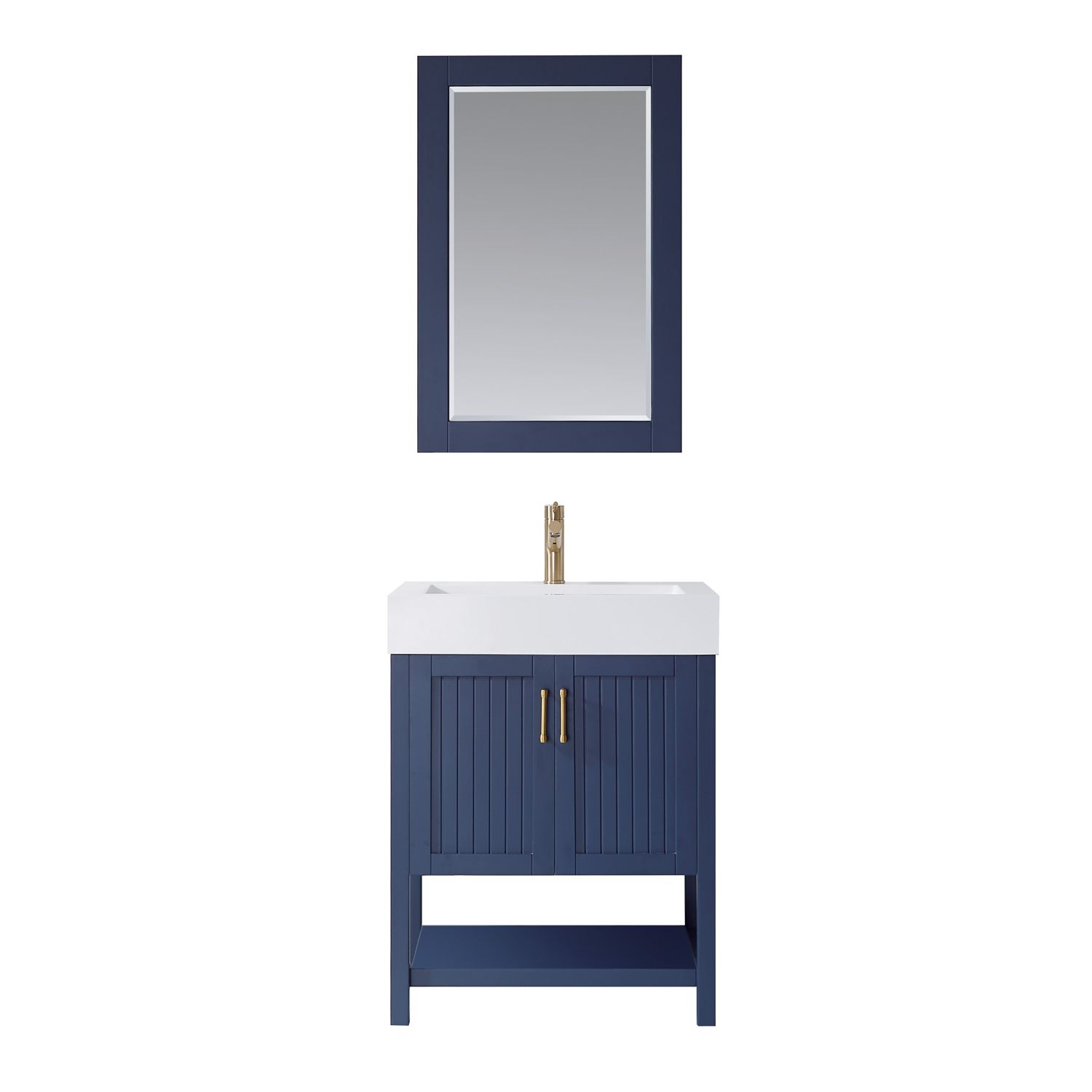 "28"" Single Vanity in Royal Blue with Acrylic under-mount Sink With Mirror"