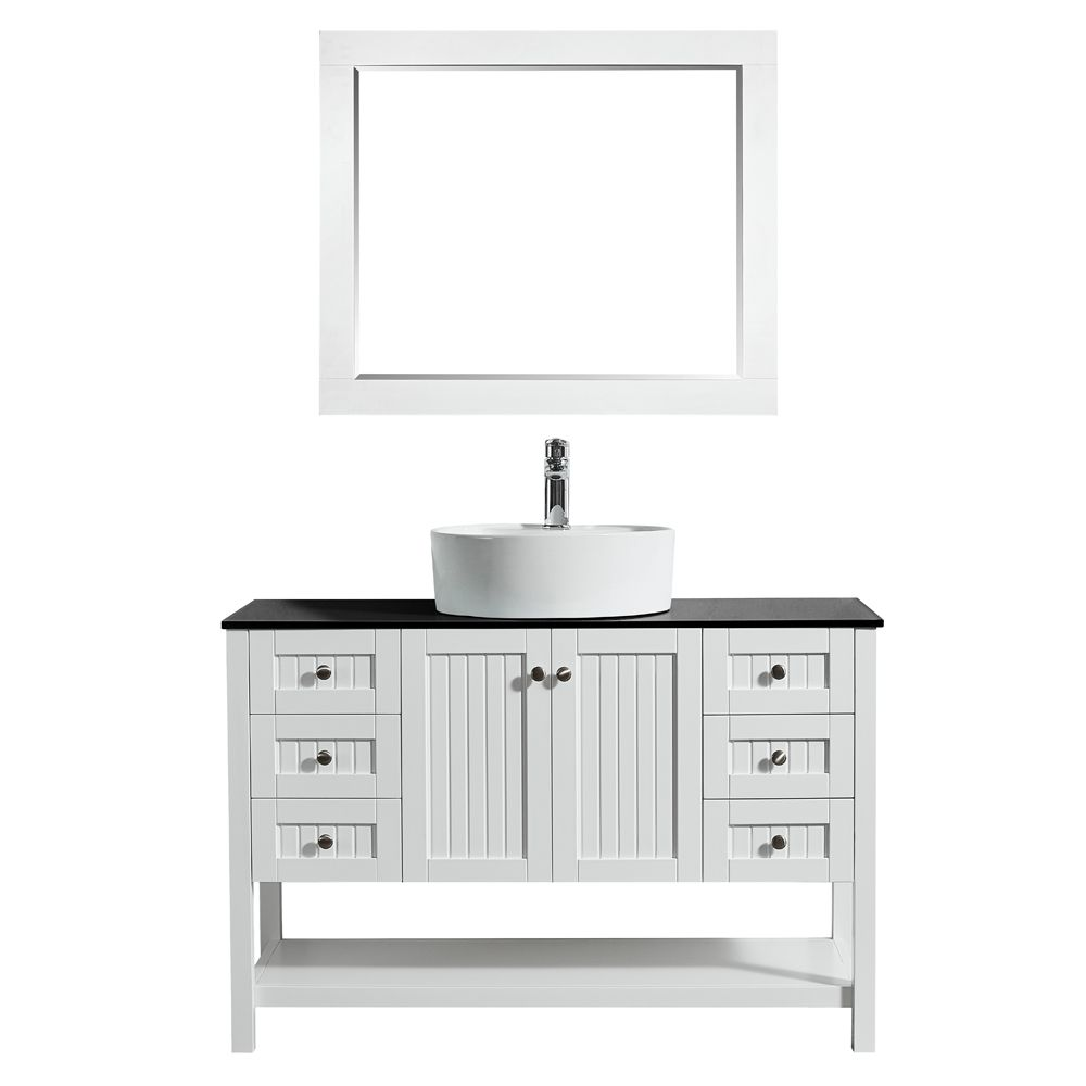 "48"" Vanity in White with Glass Countertop with White Vessel Sink With Mirror"