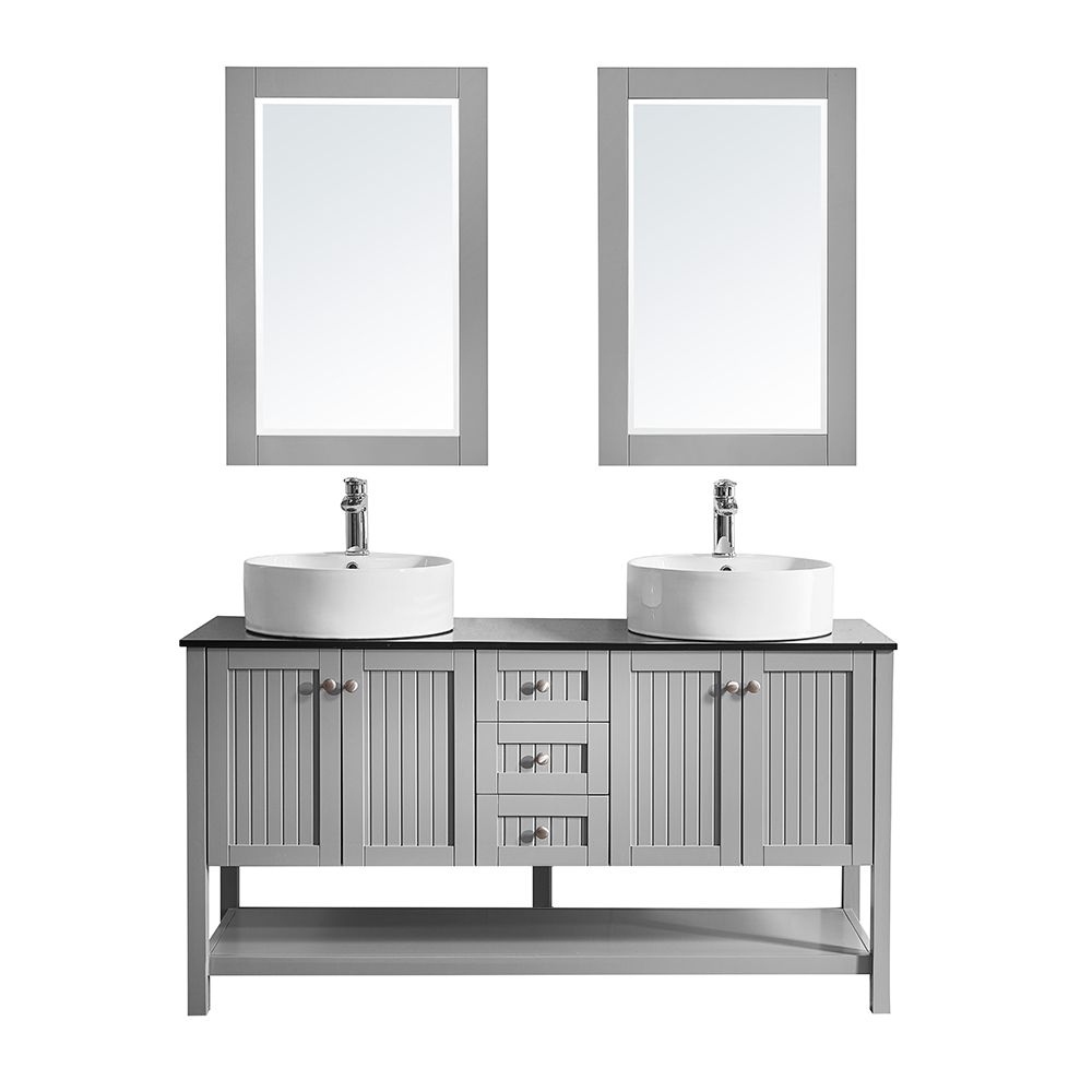 "60"" Double Vanity in Grey with Glass Countertop with White Vessel Sink With Mirror"