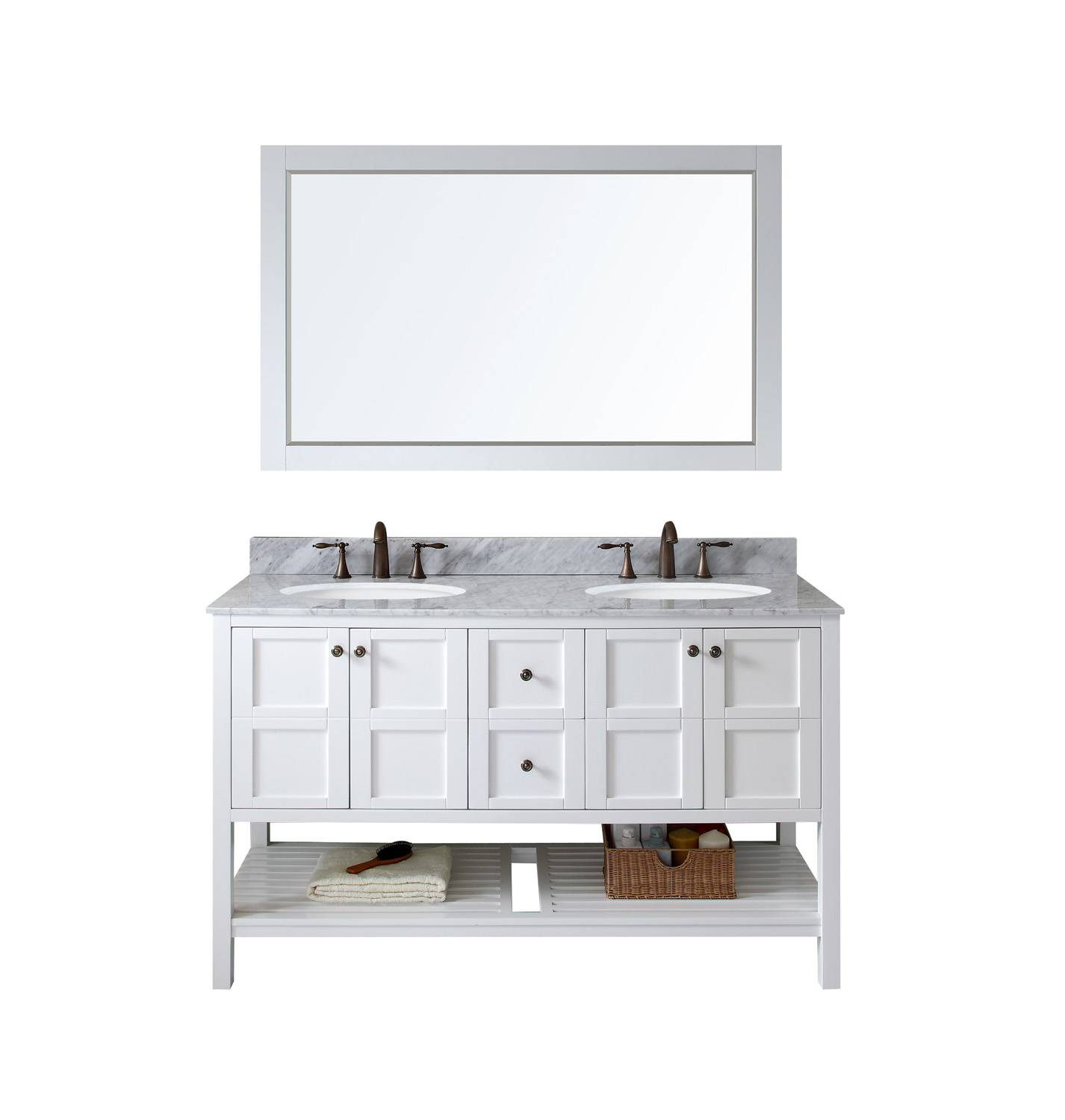 "60"" Double Bath Vanity in White Finish with Marble Top and Round Sink with Faucet and Mirror Options"