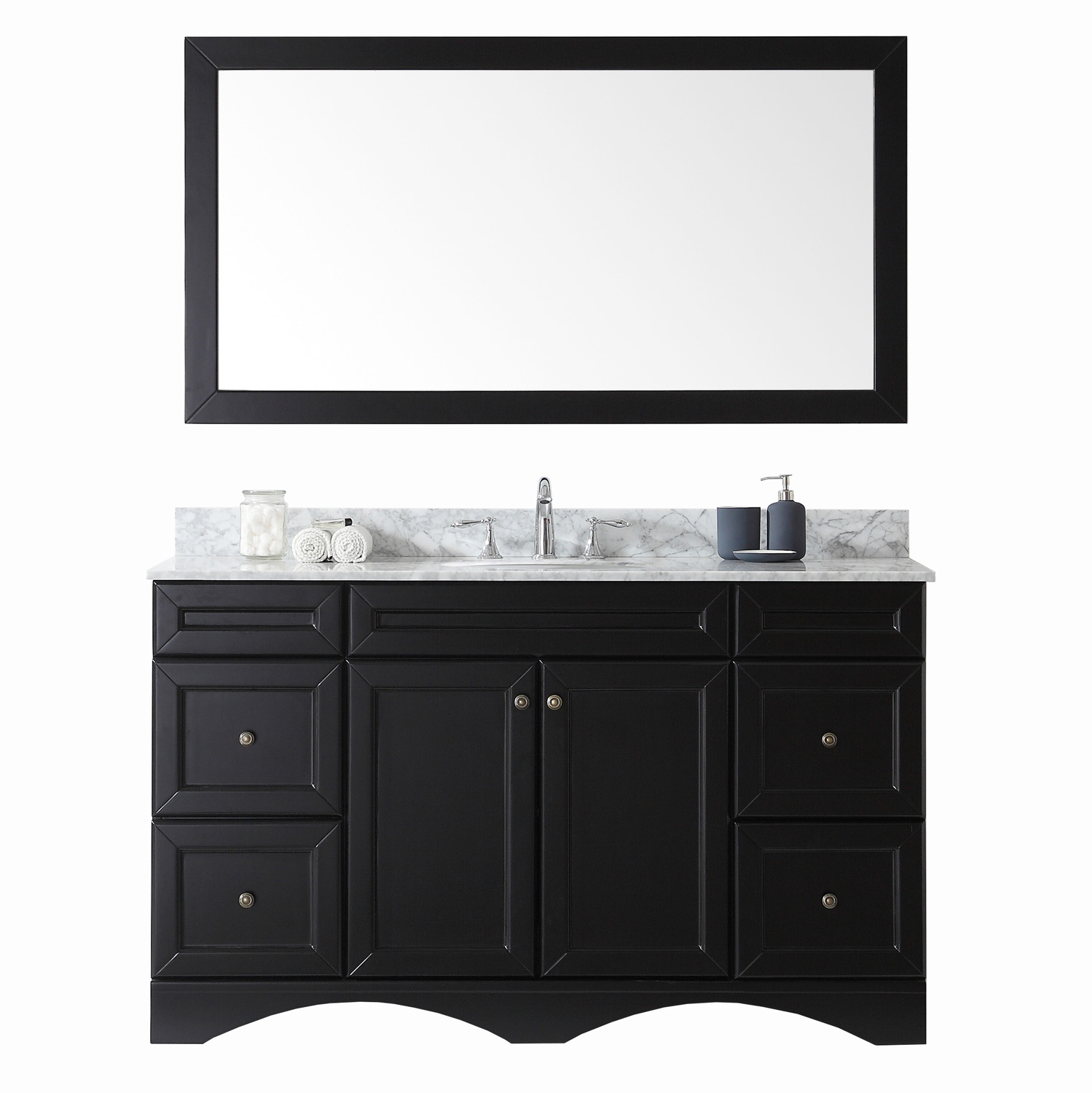 "60"" Single Bath Vanity in Espresso with Marble Top and Round Sink with Faucet and Mirror Options"