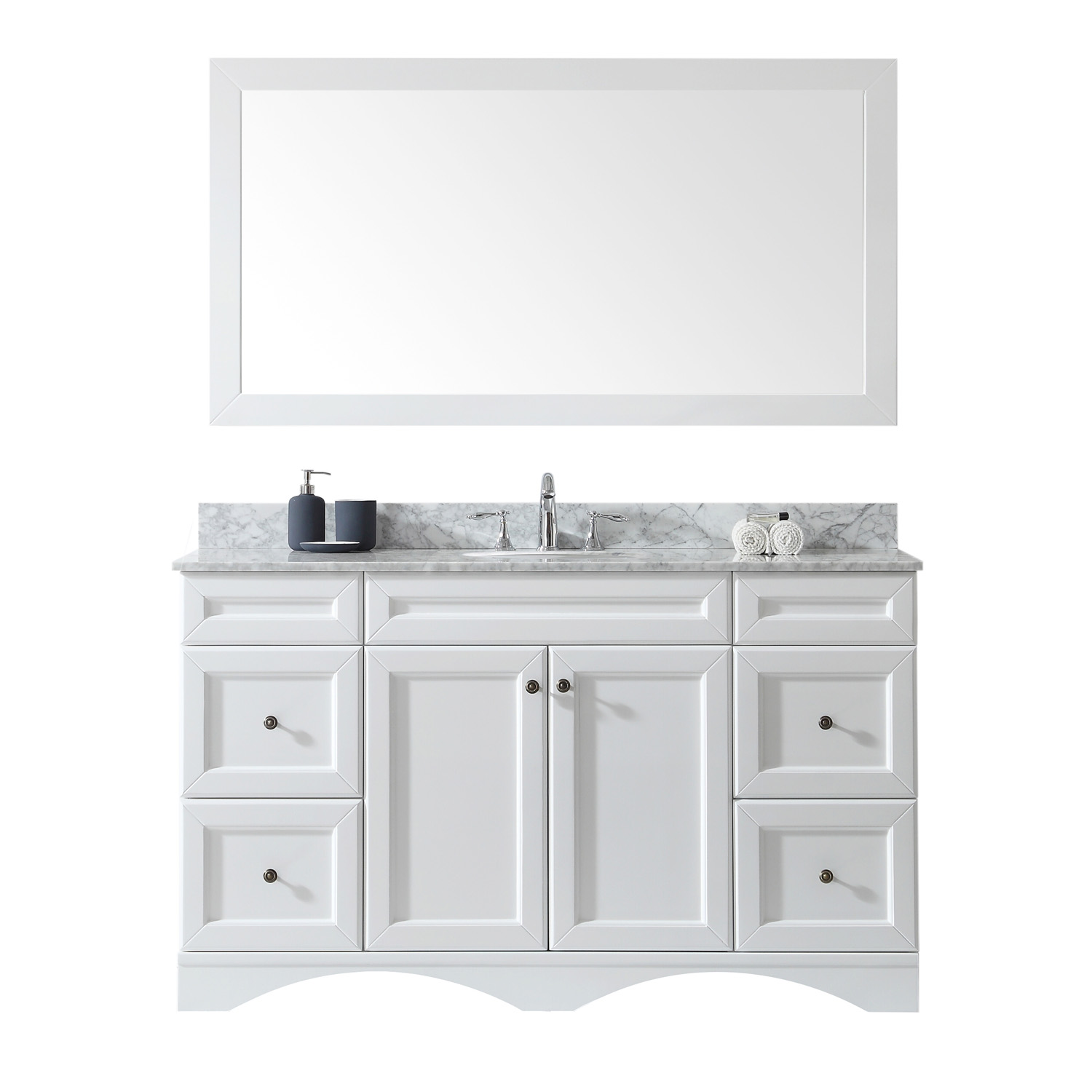 "60"" Single Bath Vanity in White with Marble Top and Round Sink with Faucet and Mirror Options"