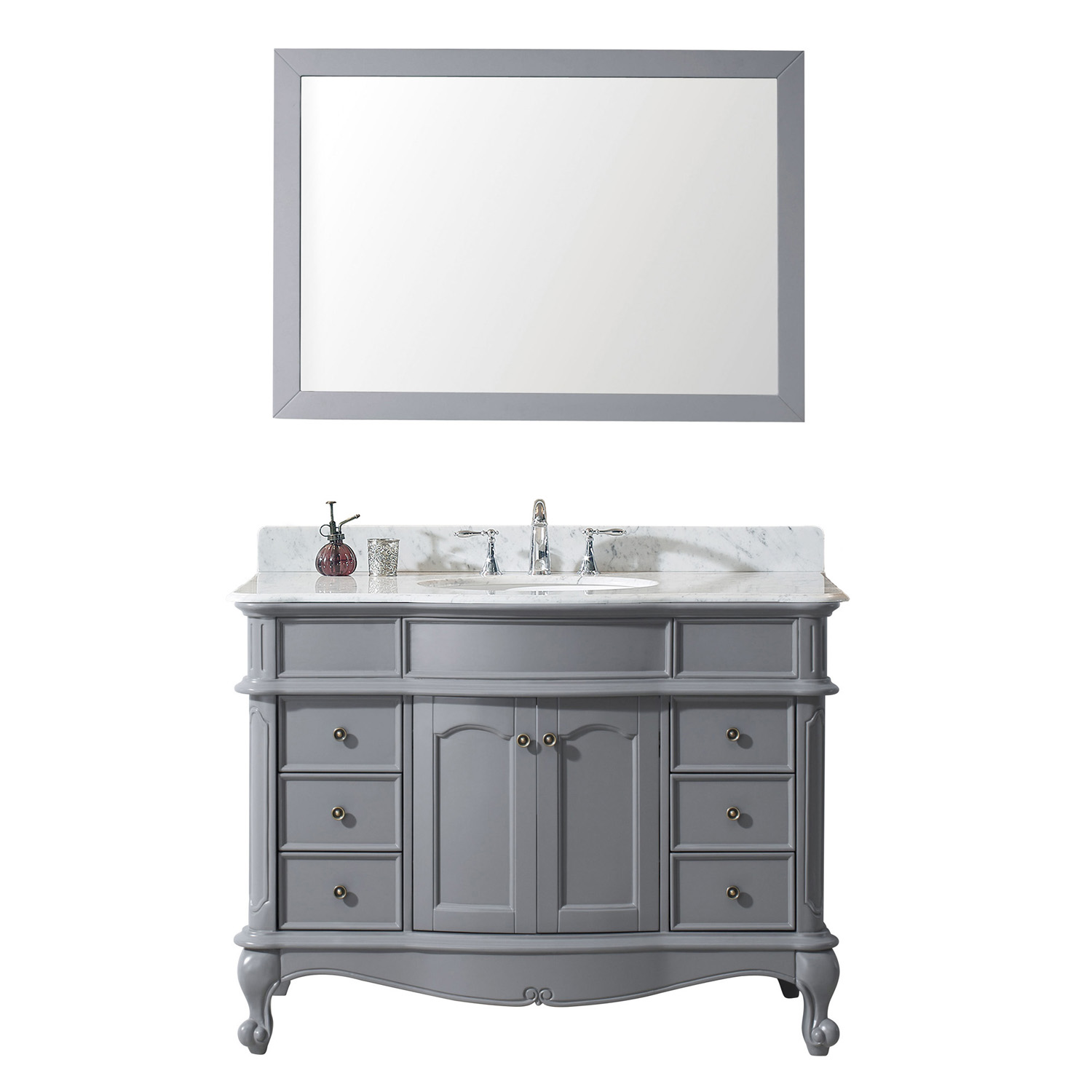 "48"" Single Bath Vanity in Grey with Marble Top and Round Sink with Mirror Options"