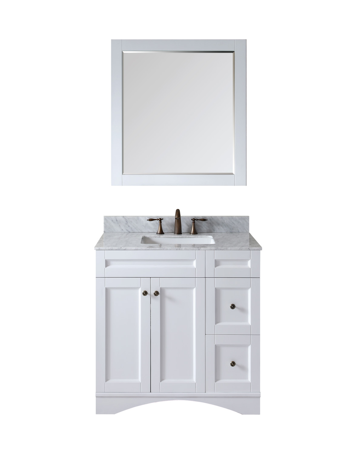 "36"" Single Bath Vanity in White Finish with Top, Sink and Mirror Options"