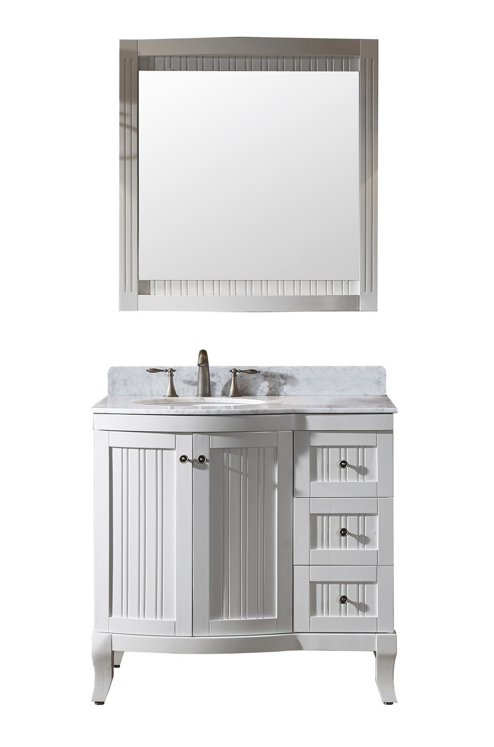 "36"" Single Bath Vanity in White with Marble Top and Round Sink with Polished Chrome Faucet and Mirror"