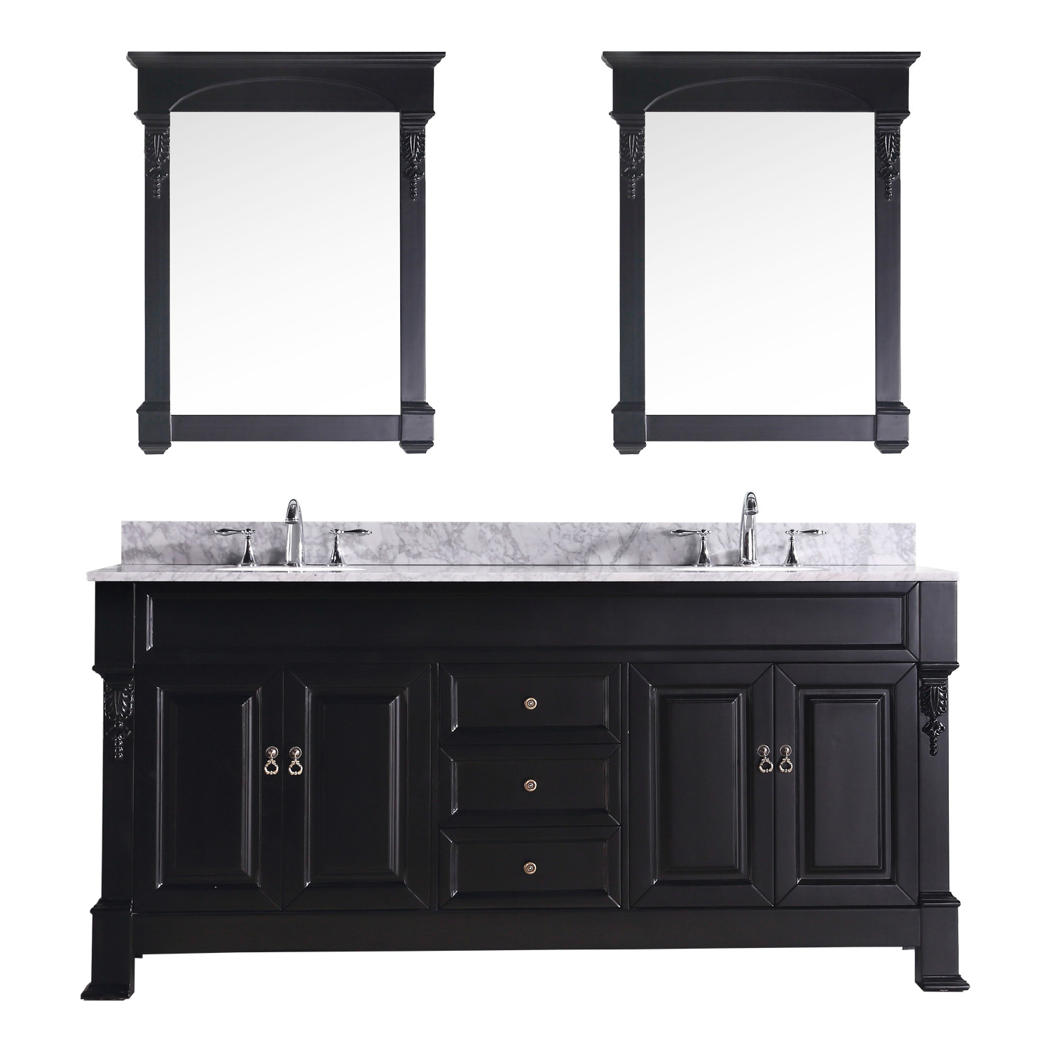 """72"""" Cabinet Only in Dark Walnut with Top, Faucet and Mirror Options"""
