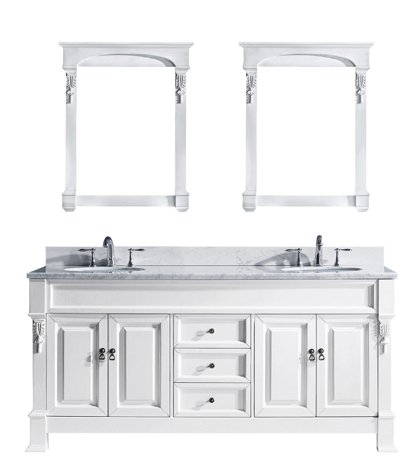 "72"" Cabinet Only in White with Top, Faucet and Mirror Options"