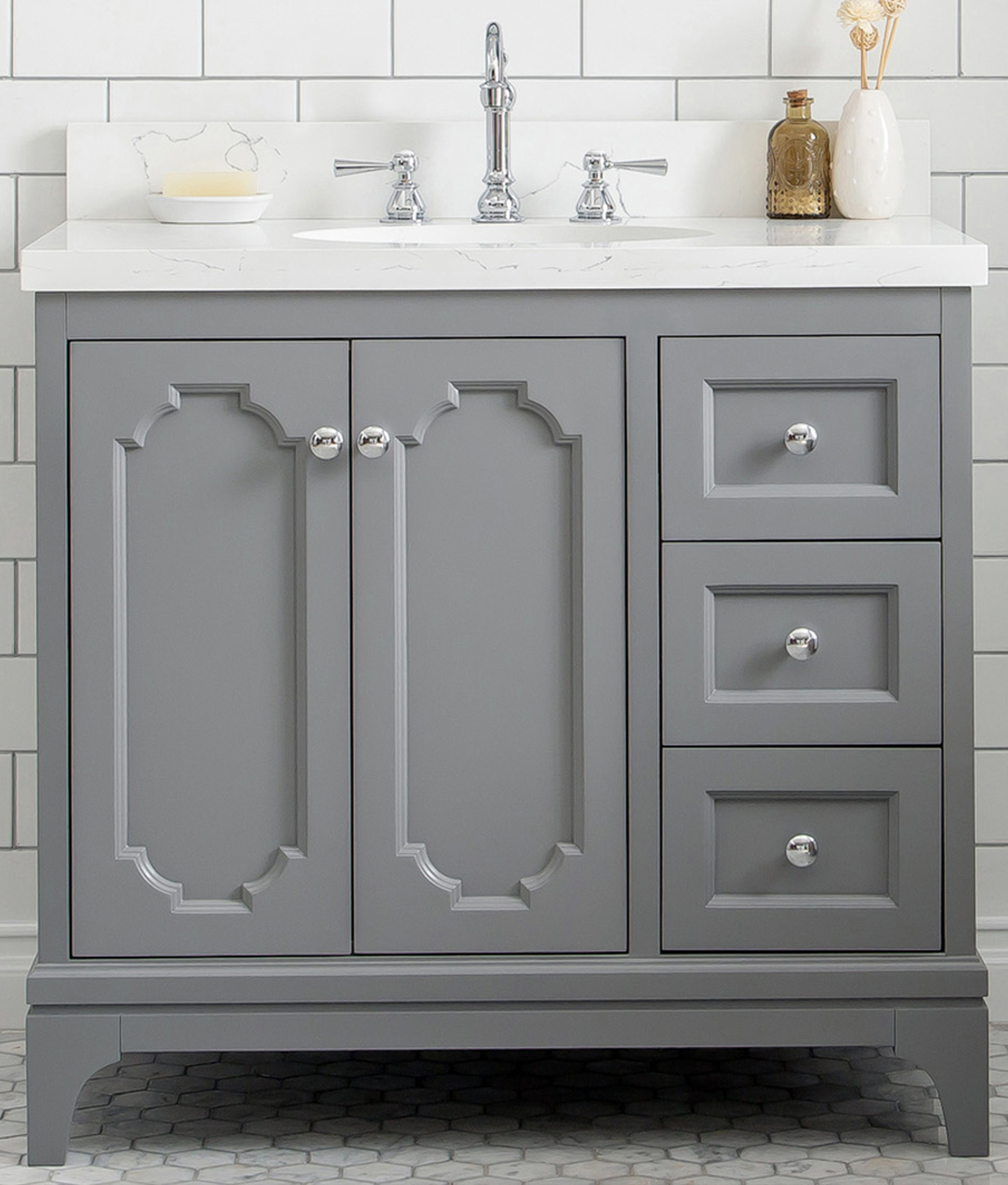 "36"" Single Sink Quartz Carrara Vanity In Cashmere Grey"