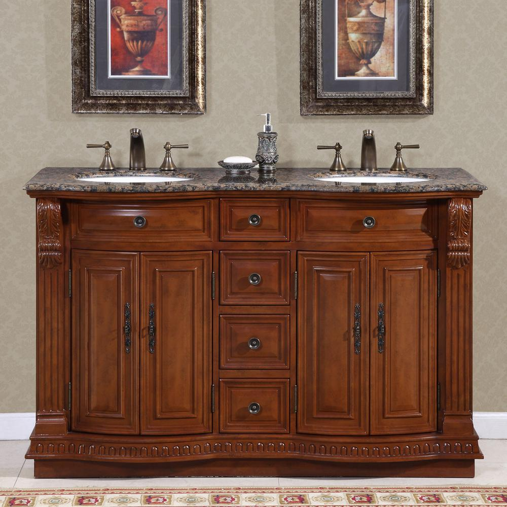 "55"" Double Sink Vanity in Cherry with Granite Vanity Top in Baltic Brown with White Basin"