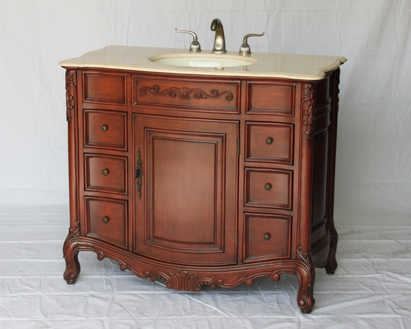 "40"" Adelina Antique Style Single Sink Bathroom Vanity in Cherry Finish with Beige Stone Countertop and Oval Bone Porcelain Sink"