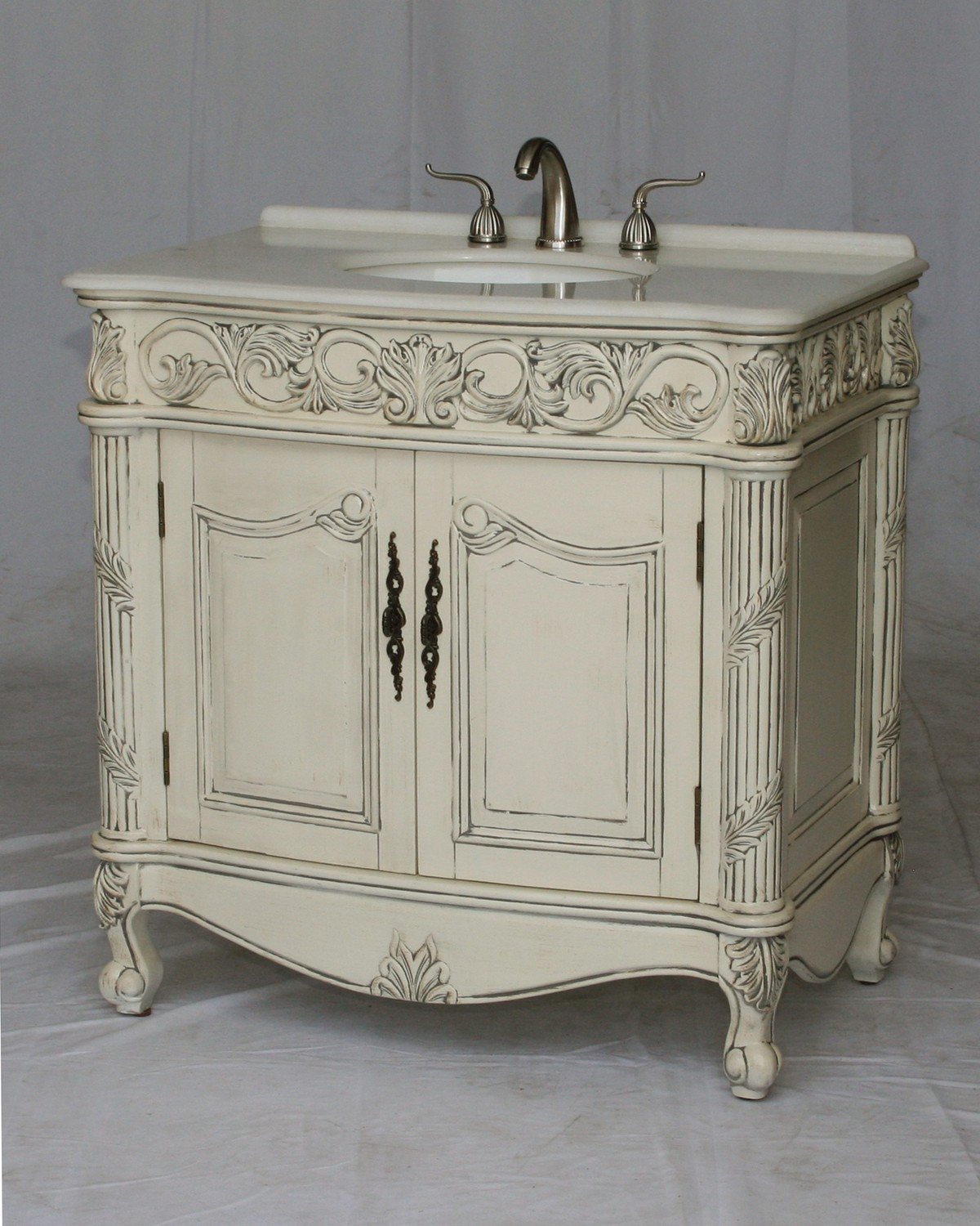 "36"" Adelina Antique Style Single Sink Bathroom Vanity with Imperial White Stone Countertop and Antique White Finish"