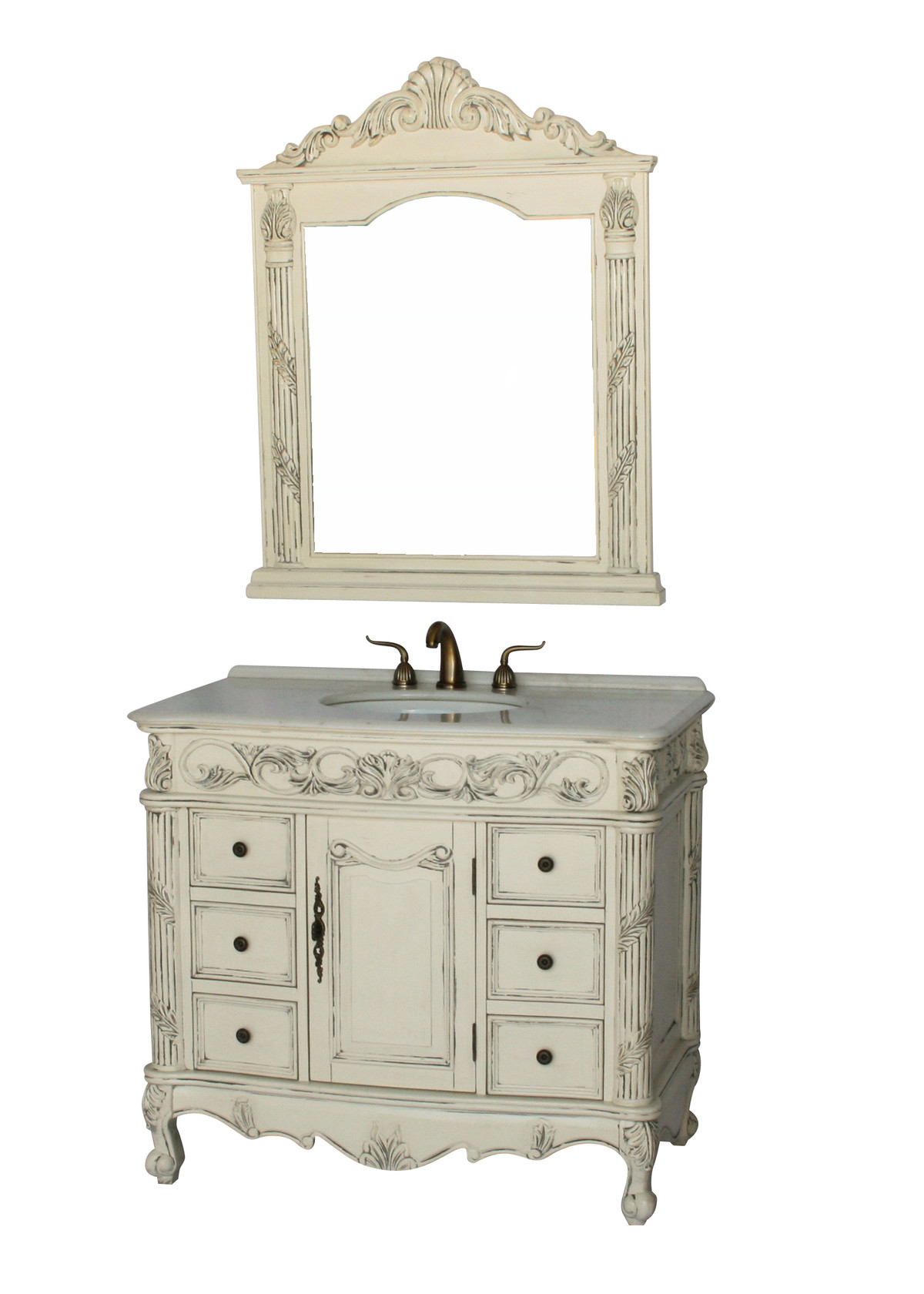 "40"" Adelina Antique Style Single Sink Bathroom Vanity in Antique White Finish with Imperial White Stone Countertop"
