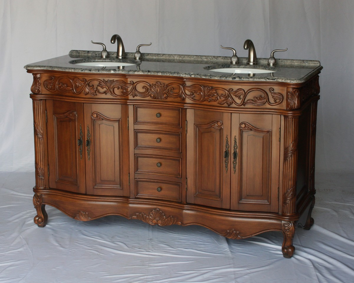 """60"""" Adelina Antique Style Double Sink Bathroom Vanity in Walnut Finish with Gray Granite Countertop and Oval White Porcelain Sink"""