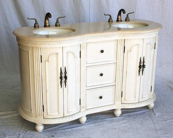 "60"" Adelina Antique Style Double Sink Bathroom Vanity in Antique White Wooden Cabinet Finish with Beige Stone Countertop"
