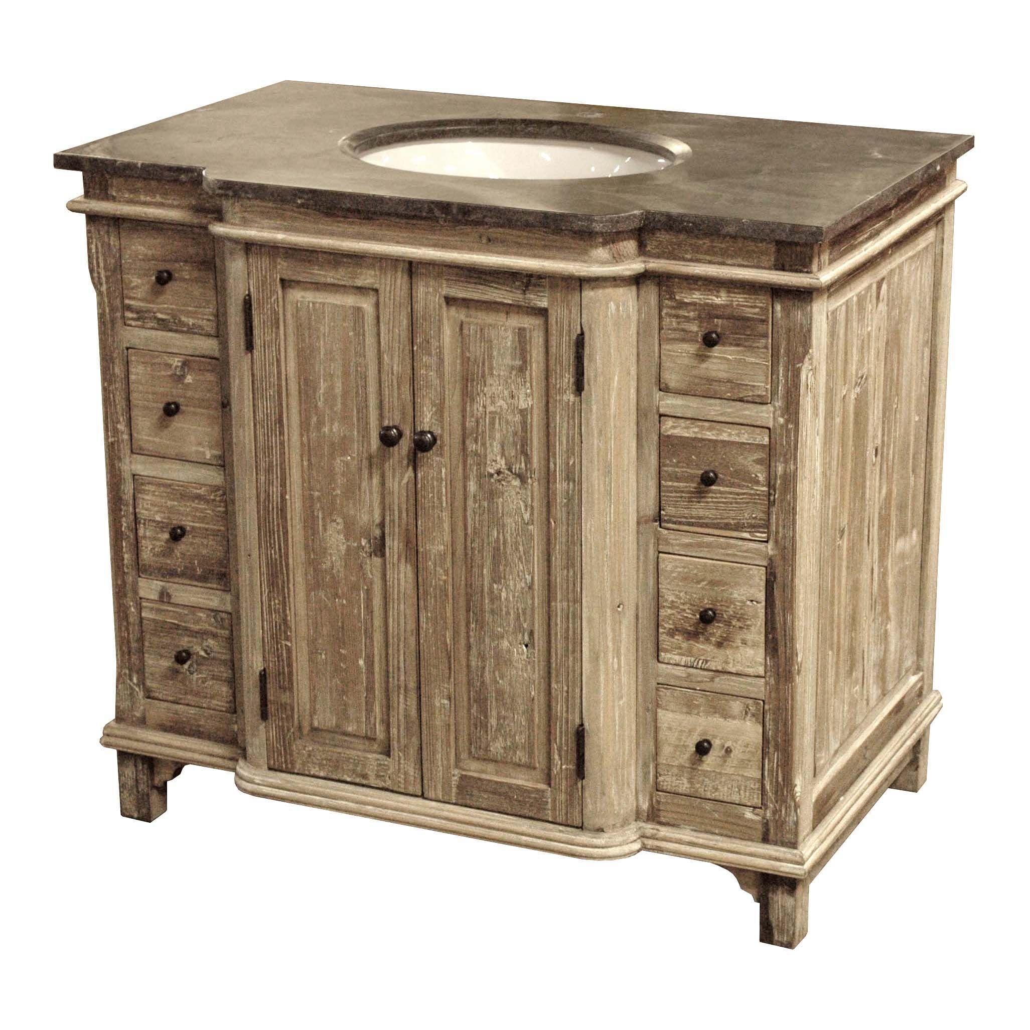 "38"" Handcrafted Reclaimed Pine Solid Wood Single Bath Vanity"
