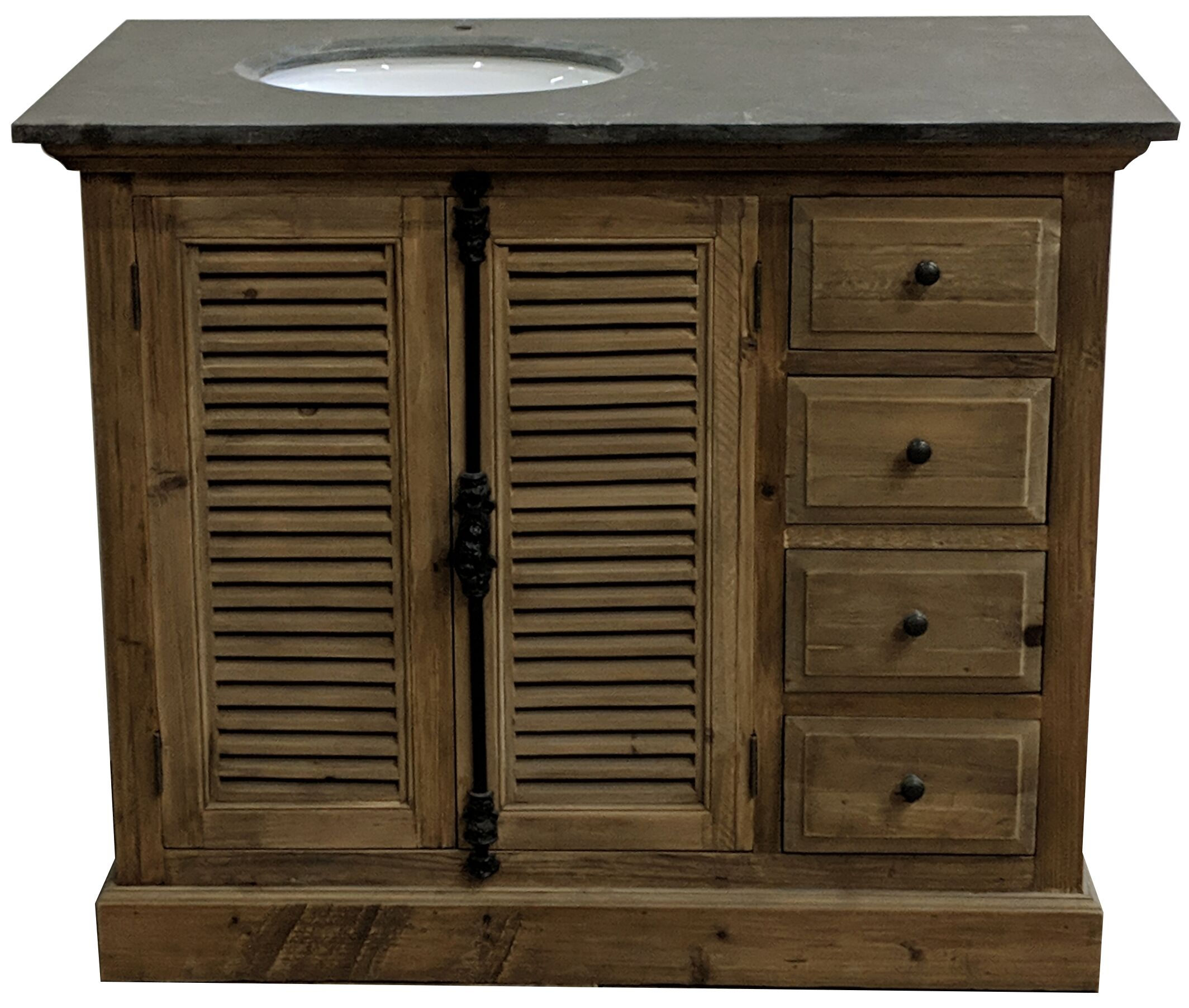 "43"" Handcrafted Reclaimed Pine Solid Wood Single Bath Vanity Natural Finish"