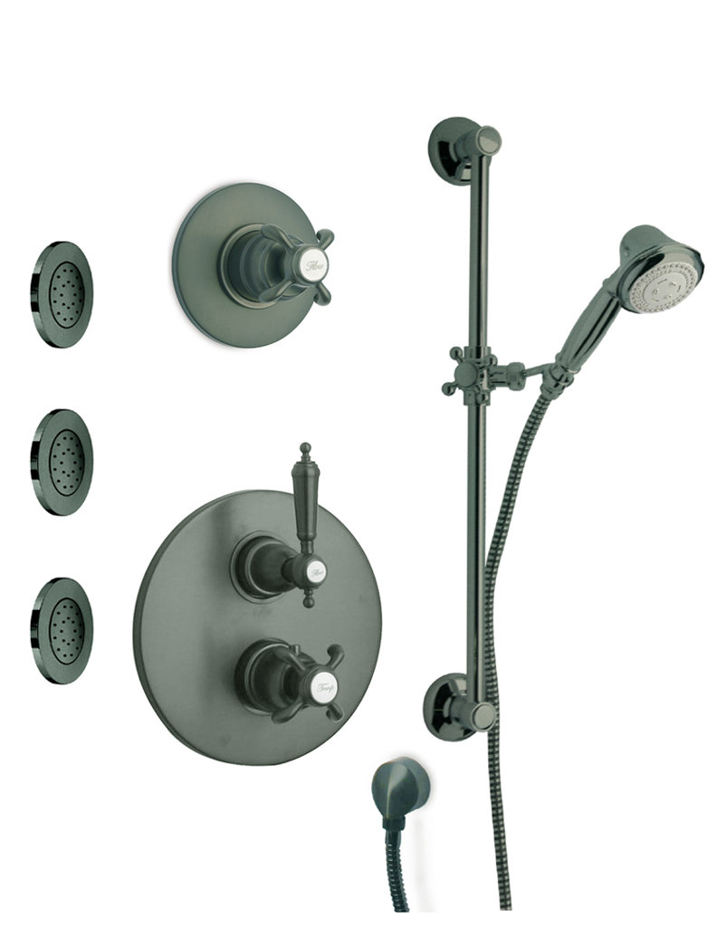 "Thermostatic Shower With 3/4"" Ceramic Disc Volume Control, 3-Way Diverter, Slide Bar and 3 Concealed Body Jets in 3 Color Options"