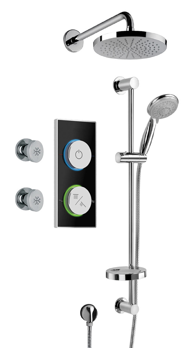 Digital Shower System With Showerhead, Slide Bar and 2 Body Jets in Chrome
