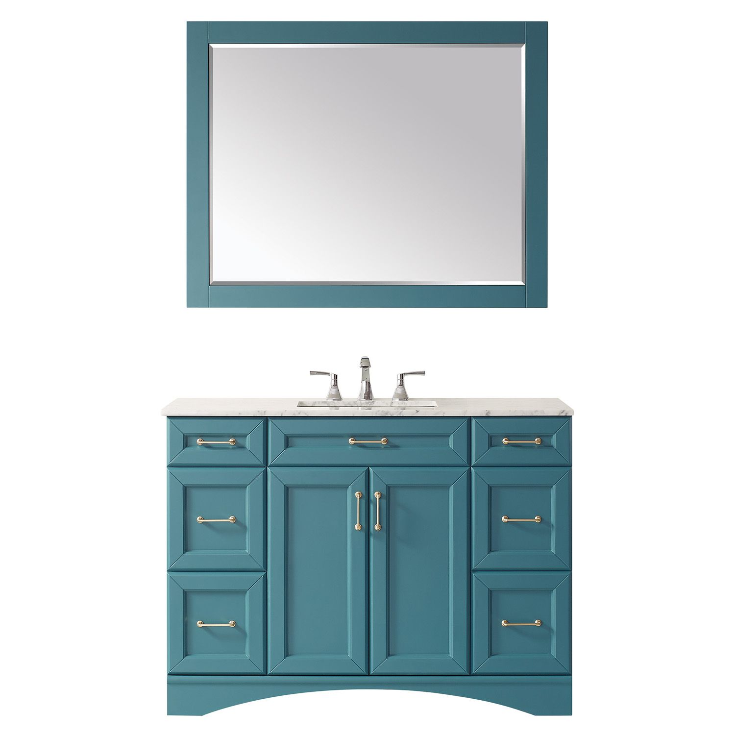 """48"""" Vanity in RoyalGreen with Carrara White Marble Countertop With Mirror"""