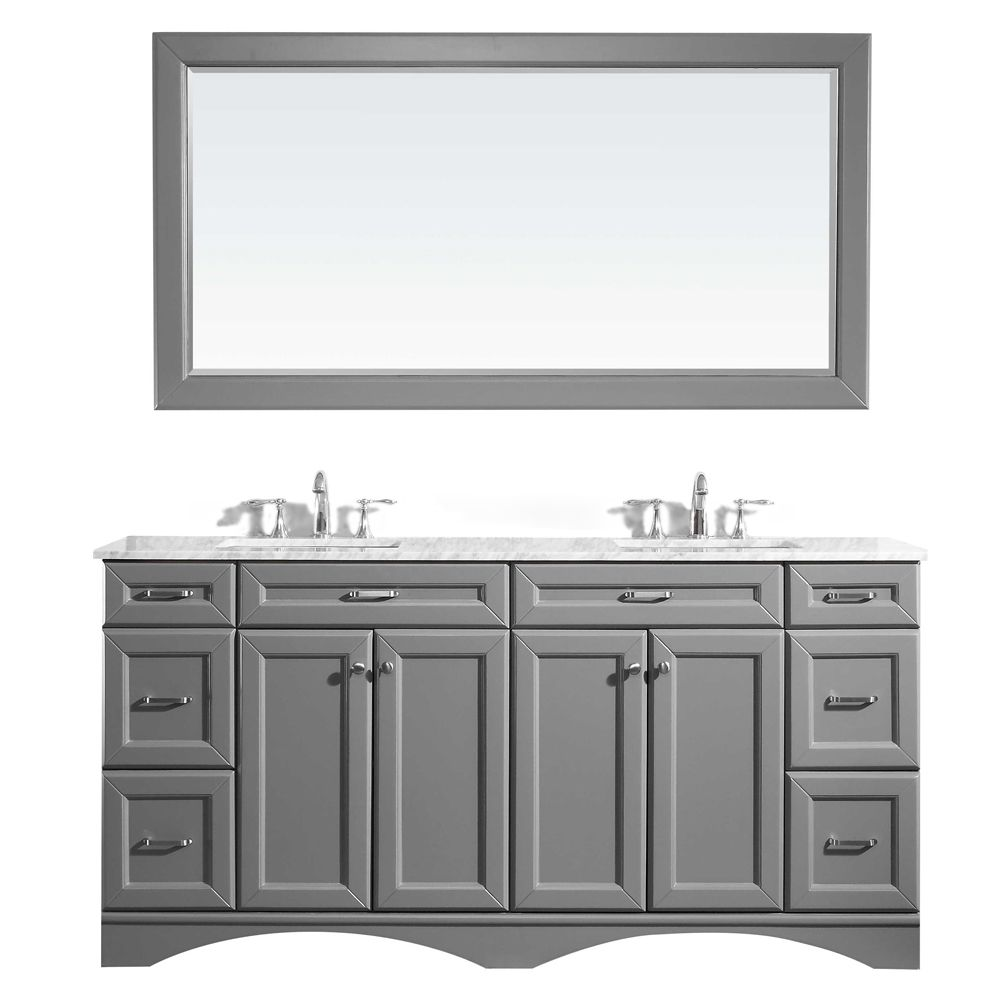 "72"" Vanity in Grey with Carrara White Marble Countertop With Mirror"