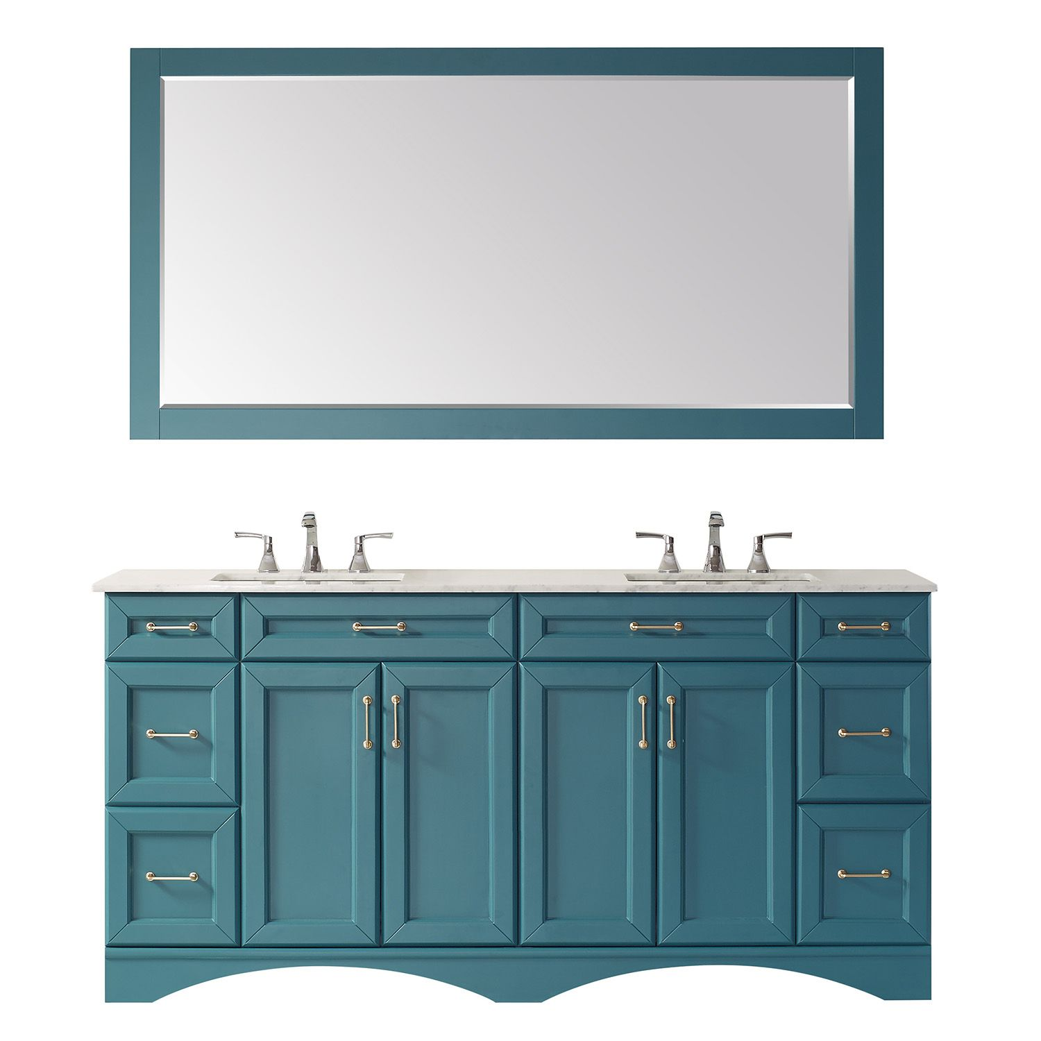 "72"" Vanity in Royal Green with Carrara White Marble Countertop With Mirror"