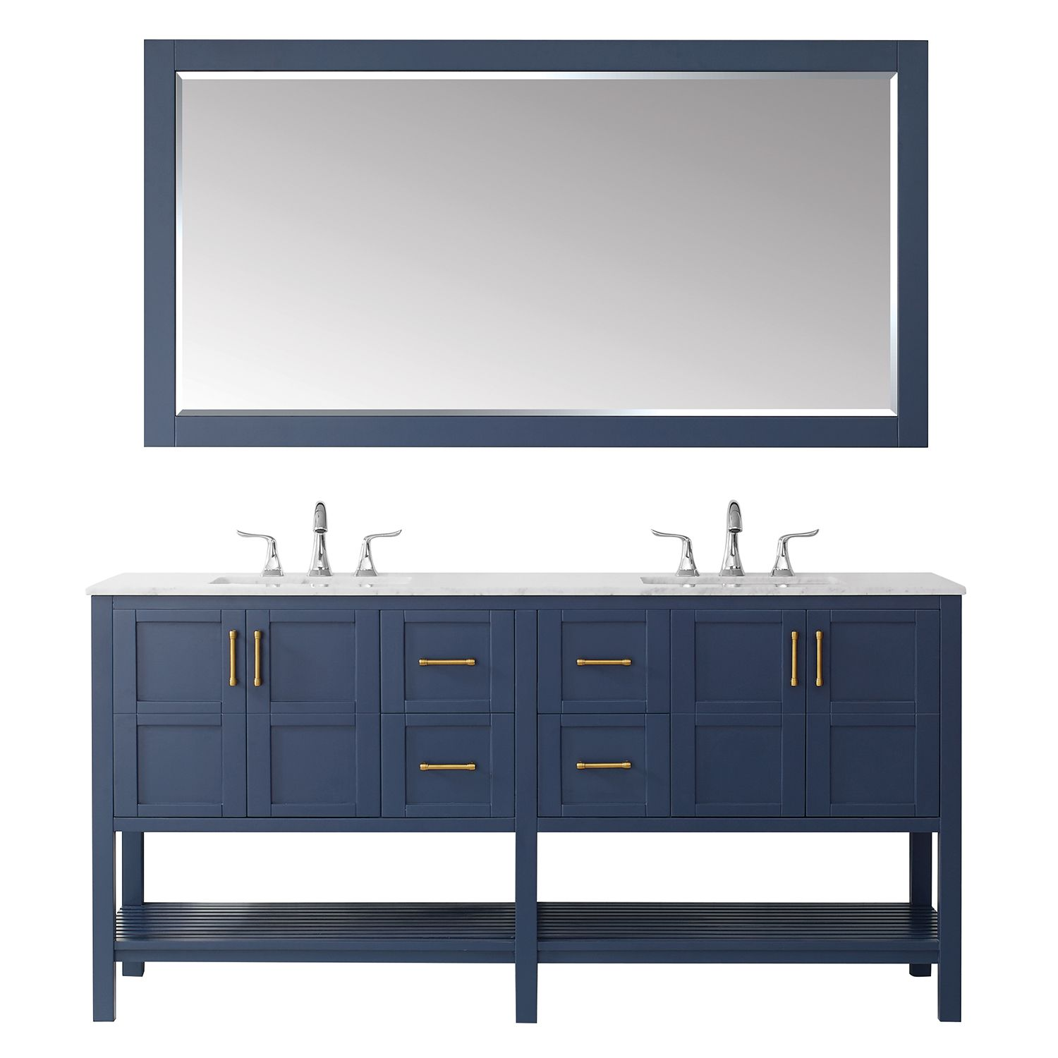 "72"" Vanity in Royal Blue with Carrara White Marble Countertop With Mirror"