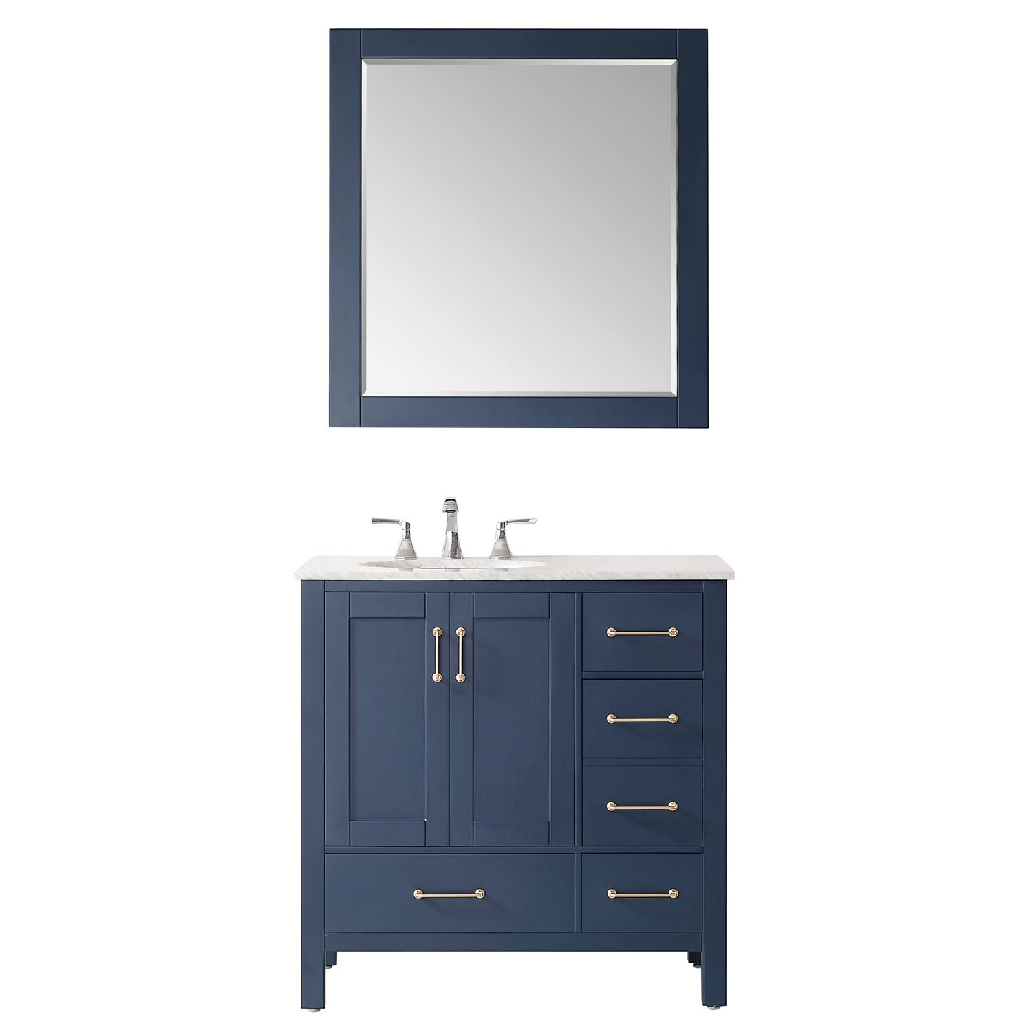 """36"""" Single Vanity in RoyalBlue with Carrara White Marble Countertop With Mirror"""