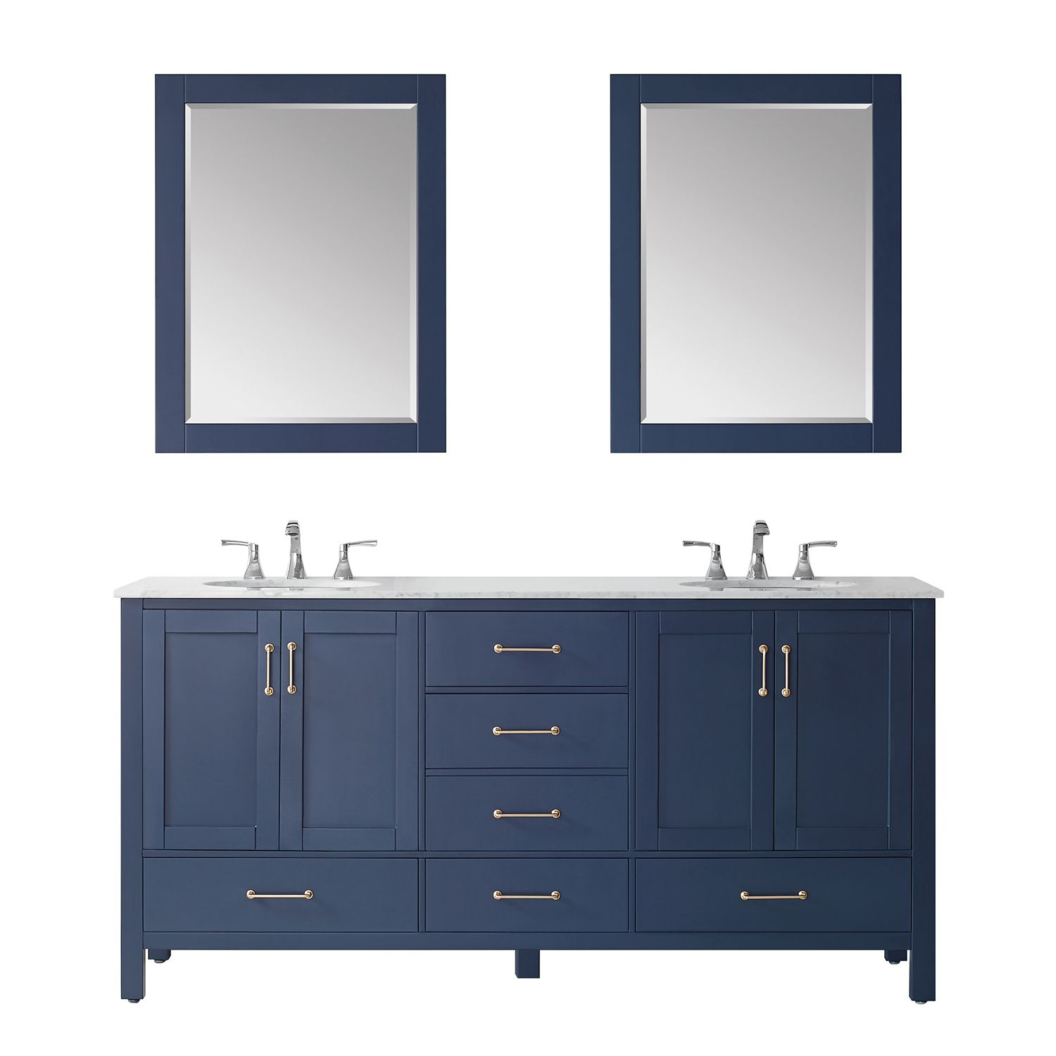 """72"""" Double Vanity in RoyalBlue with Carrara White Marble Countertop With Mirror"""