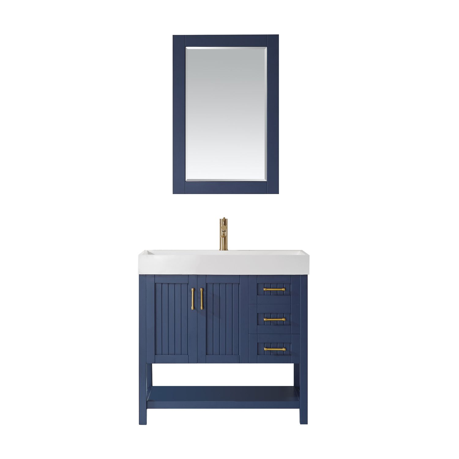 "36"" Single Vanity in Royal Blue with Acrylic under-mount Sink With Mirror"
