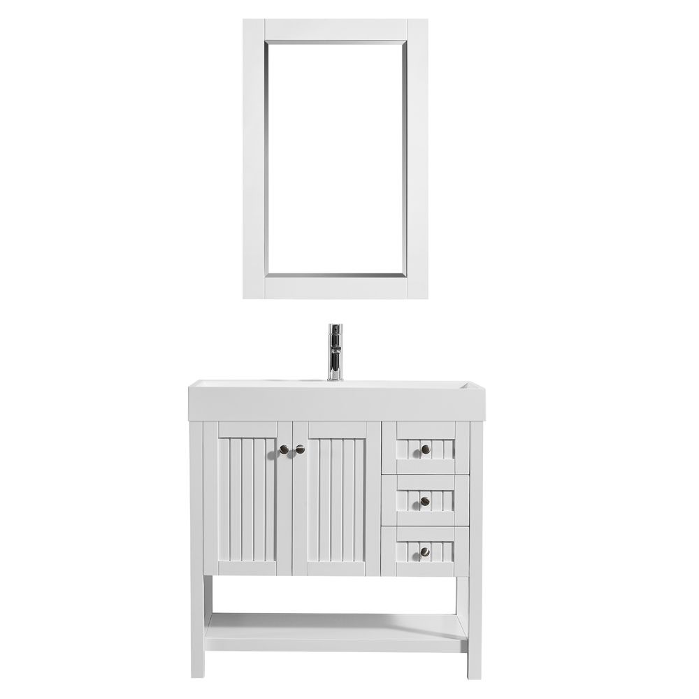 "36"" Single Vanity in White with Acrylic under-mount Sink With Mirror"