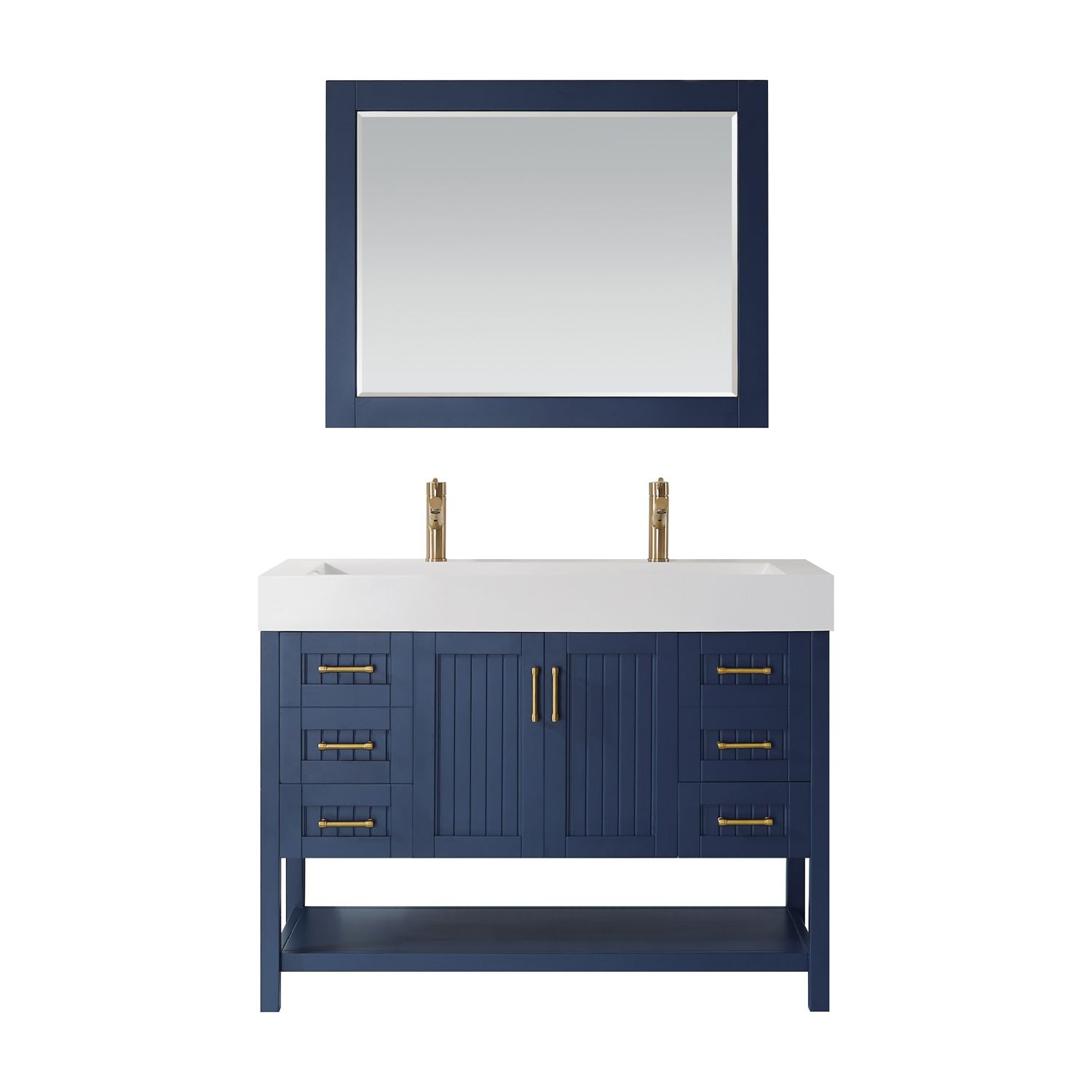"48"" Single Vanity in Royal Blue with Acrylic under-mount Sink With Mirror"