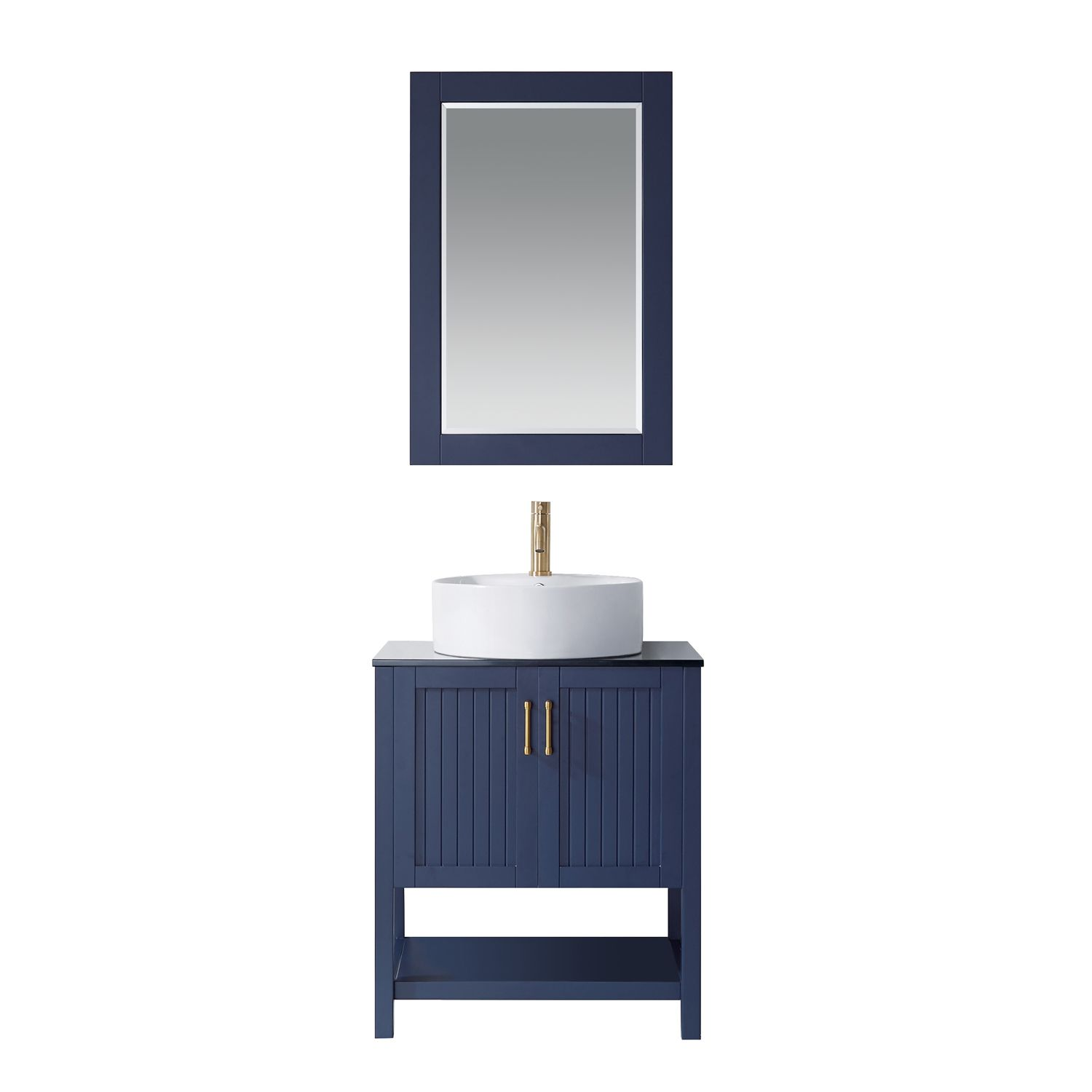 "28"" Vanity in Royal Blue with Glass Countertop with White Vessel Sink With Mirror"