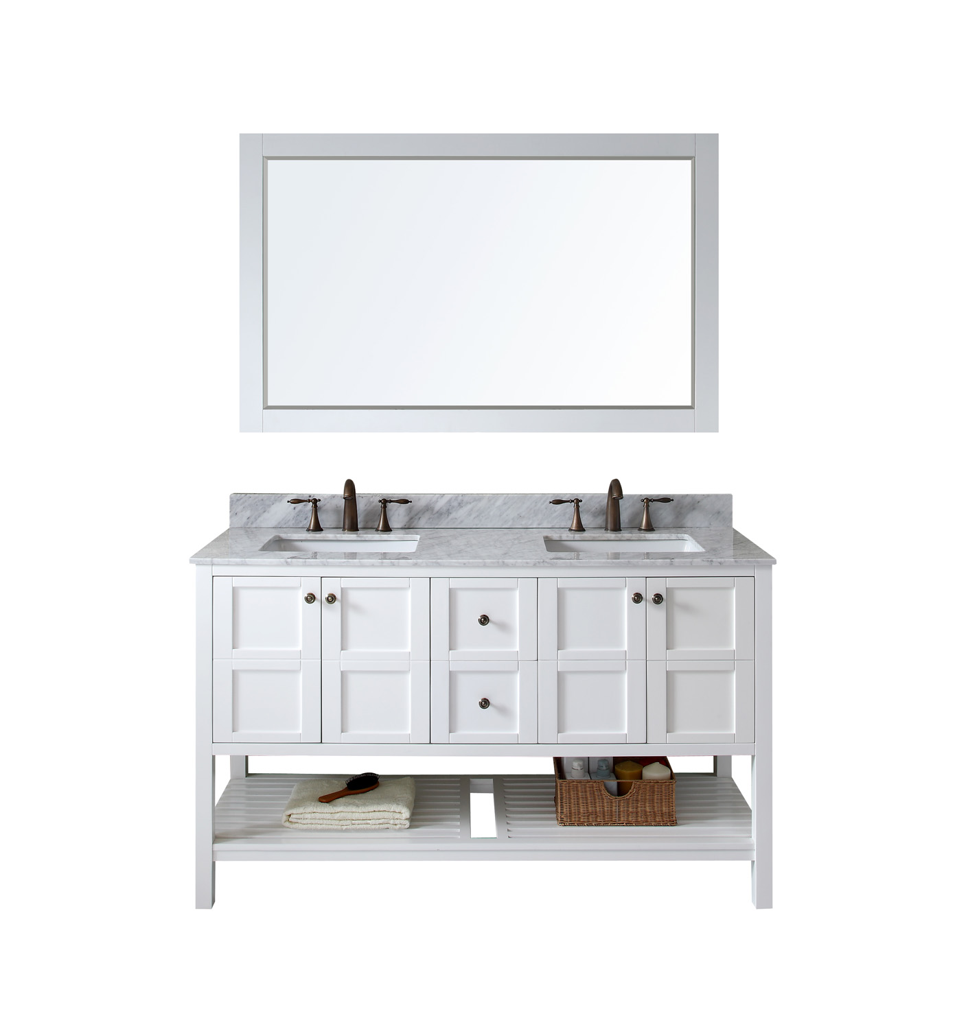 "60"" Double Bath Vanity in White Finish with Marble Top and Square Sink with Faucet and Mirror Options"