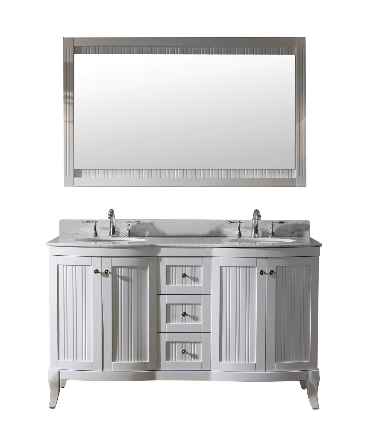 "60"" Double Bath Vanity in White with Marble Top and Round Sink with Mirror with Faucet Options"