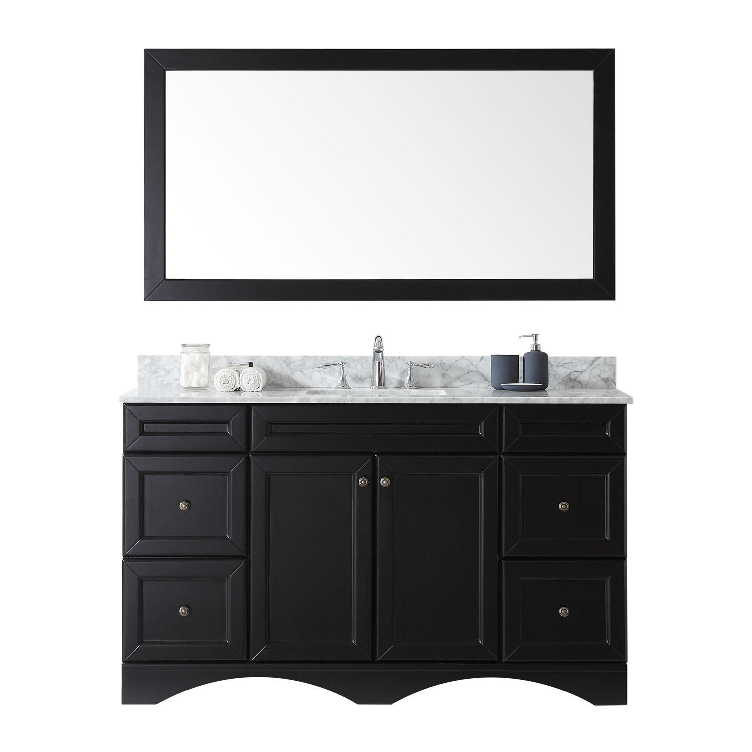 "60"" Single Bath Vanity in Espresso with Marble Top and Square Sink with Faucet and Mirror Options"