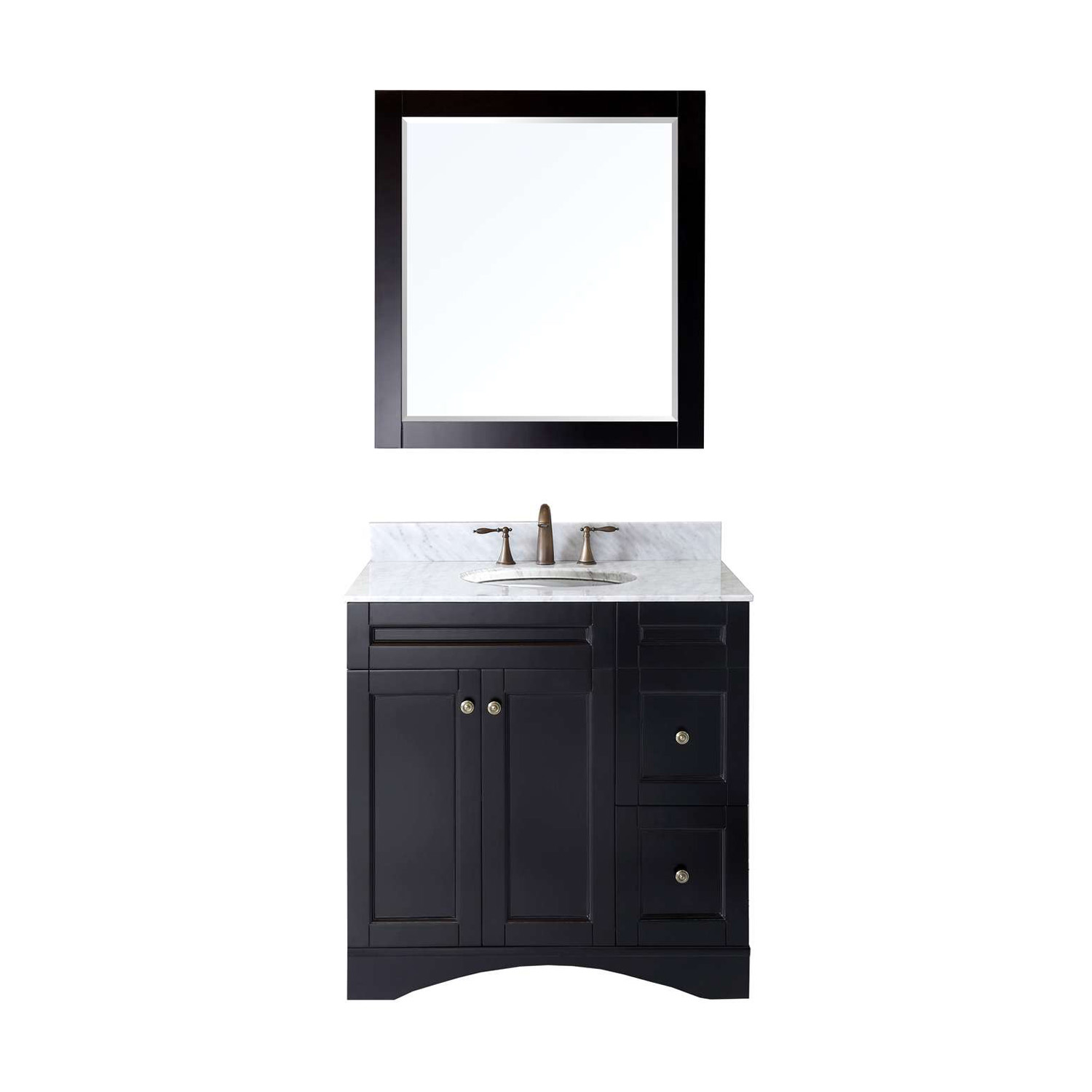 "36"" Single Bath Vanity in Espresso Finish with Top, Sink and Mirror Options"