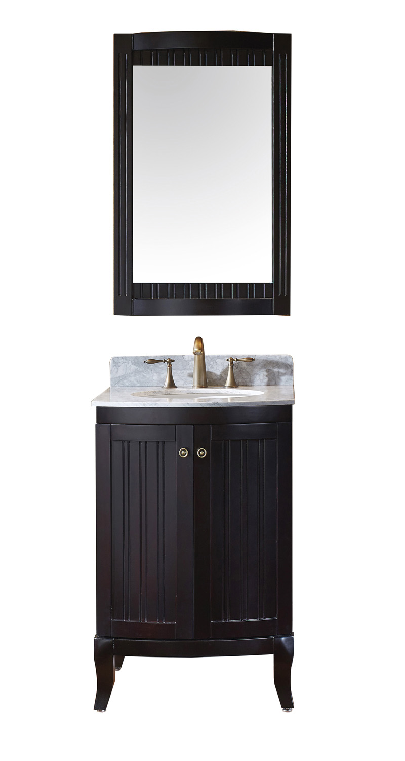 "24"" Single Bath Vanity in Espresso with Marble Top and Round Sink with Faucet and Mirror Options"