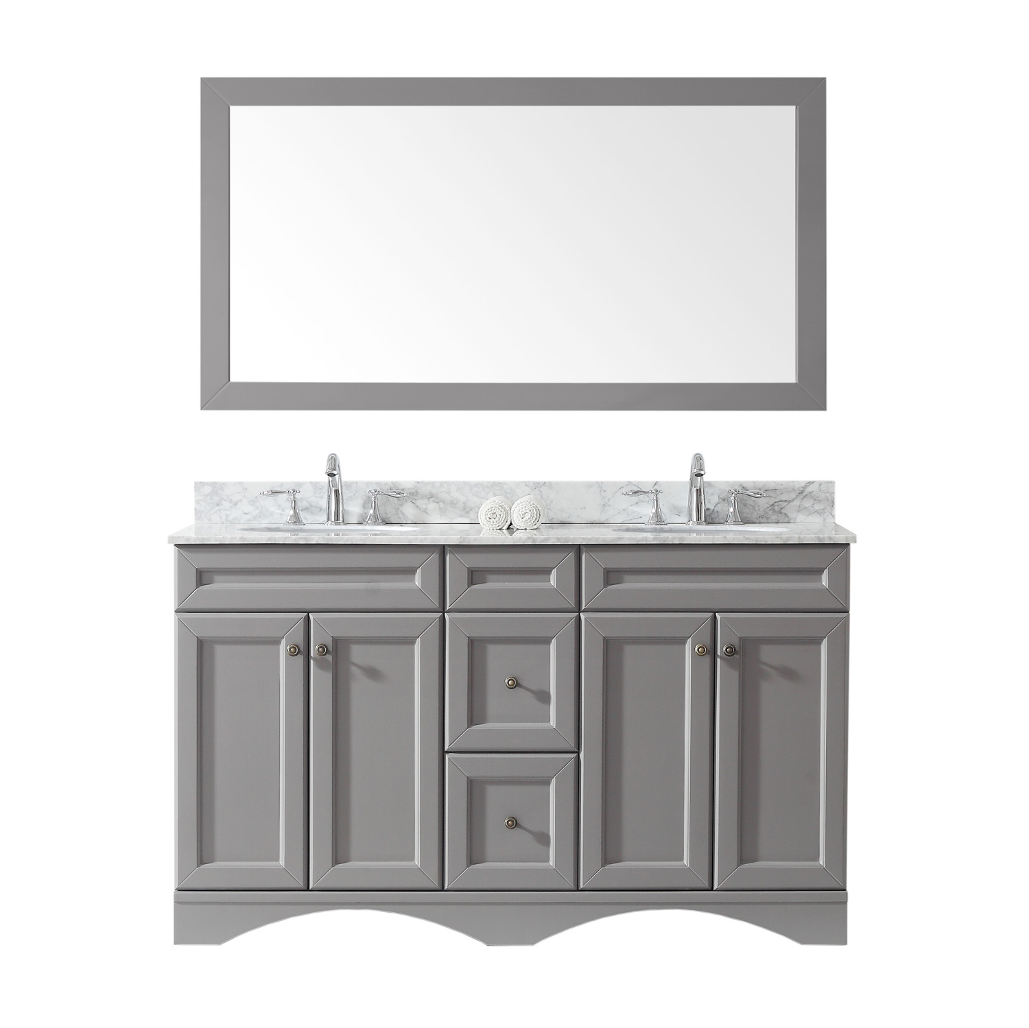 "60"" Double Bath Vanity in Grey with Marble Top and Round Sink with Faucet and Mirror Options"