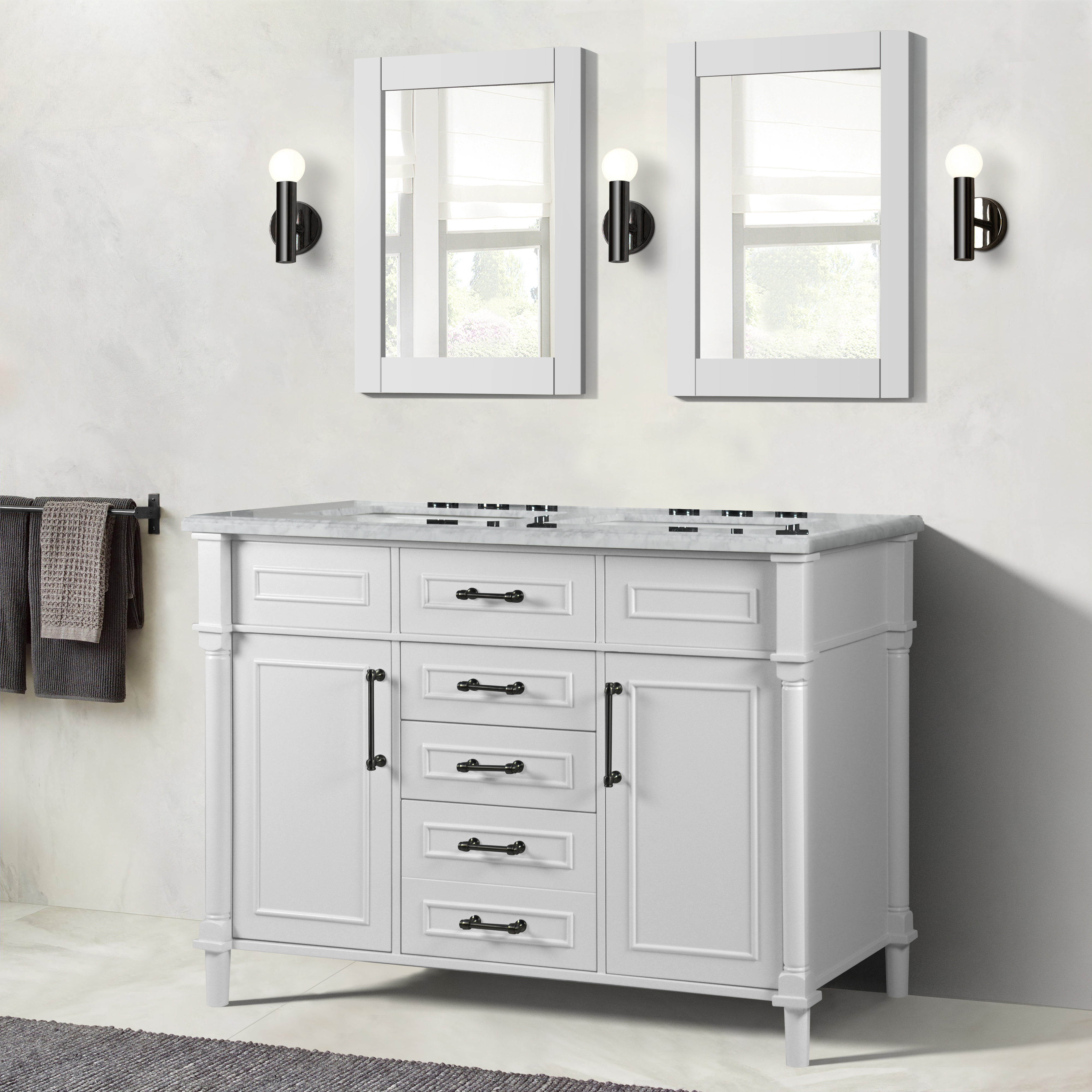 """48"""" Double Vanity in White with White Carrara Marble Top"""